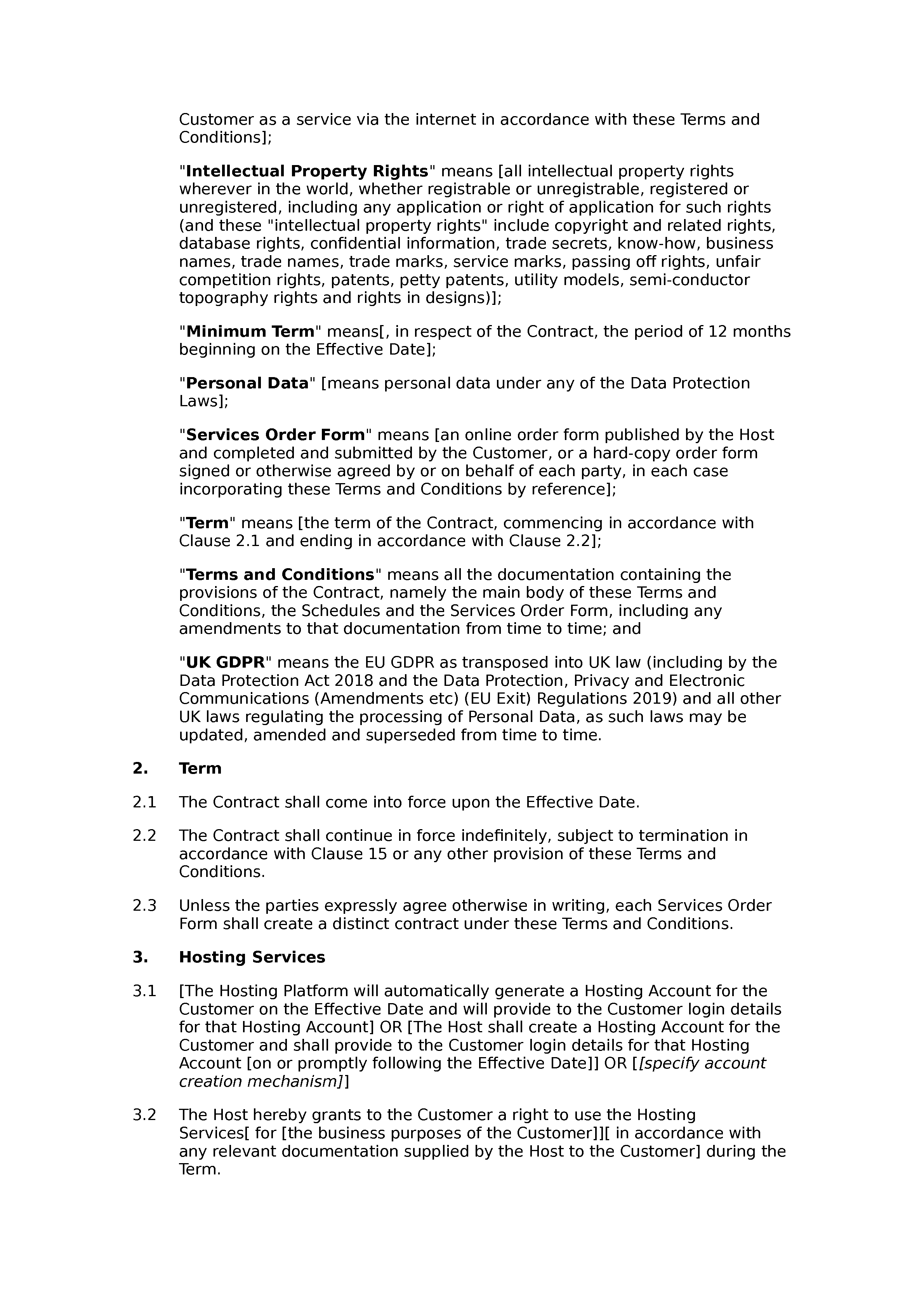 Hosting services terms and conditions document preview