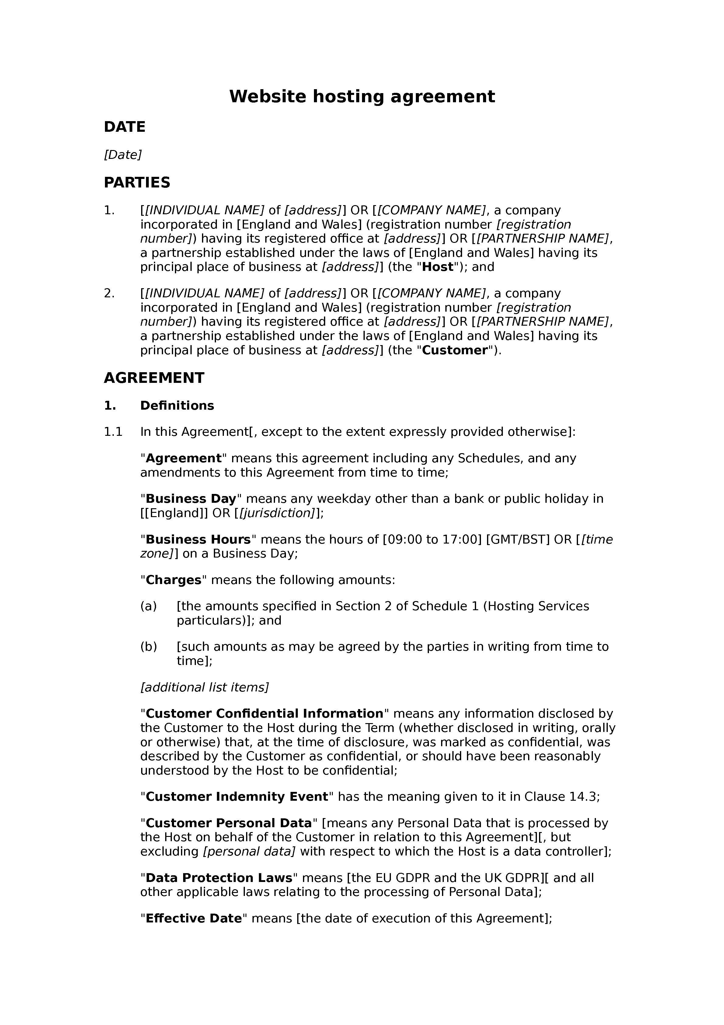 Website hosting agreement document preview