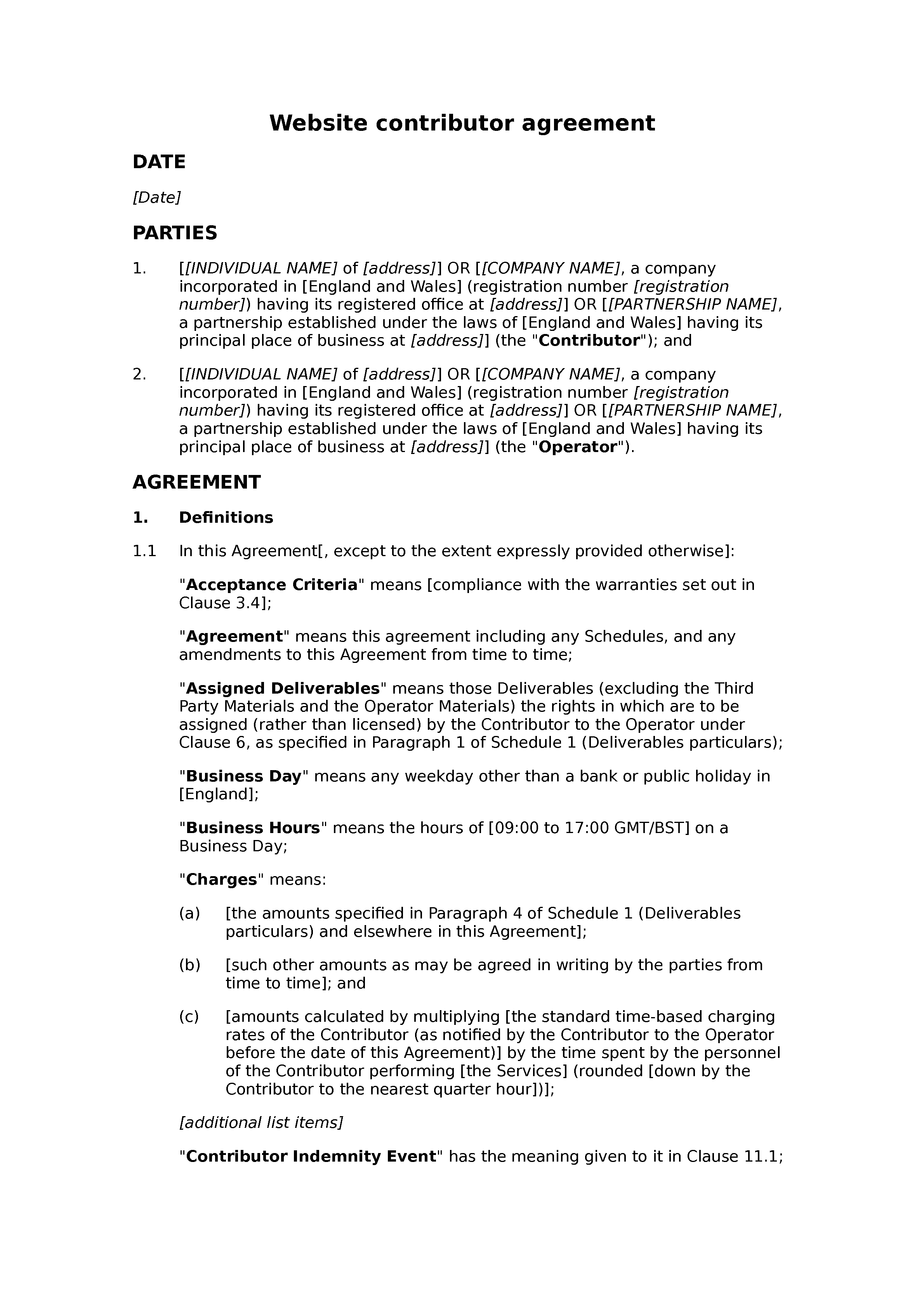 Website contributor agreement (paid) document preview