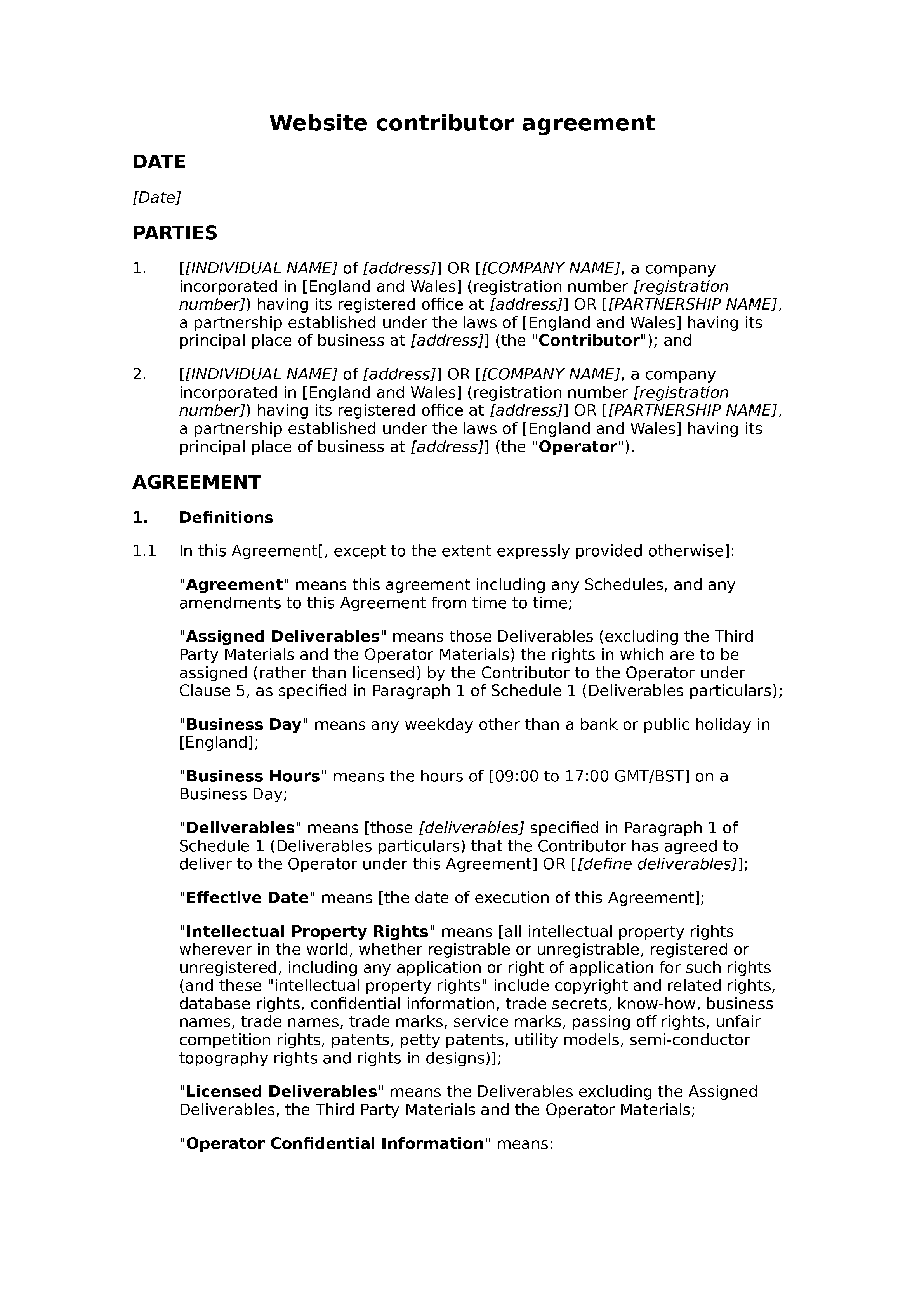 Website contributor agreement (unpaid) document preview
