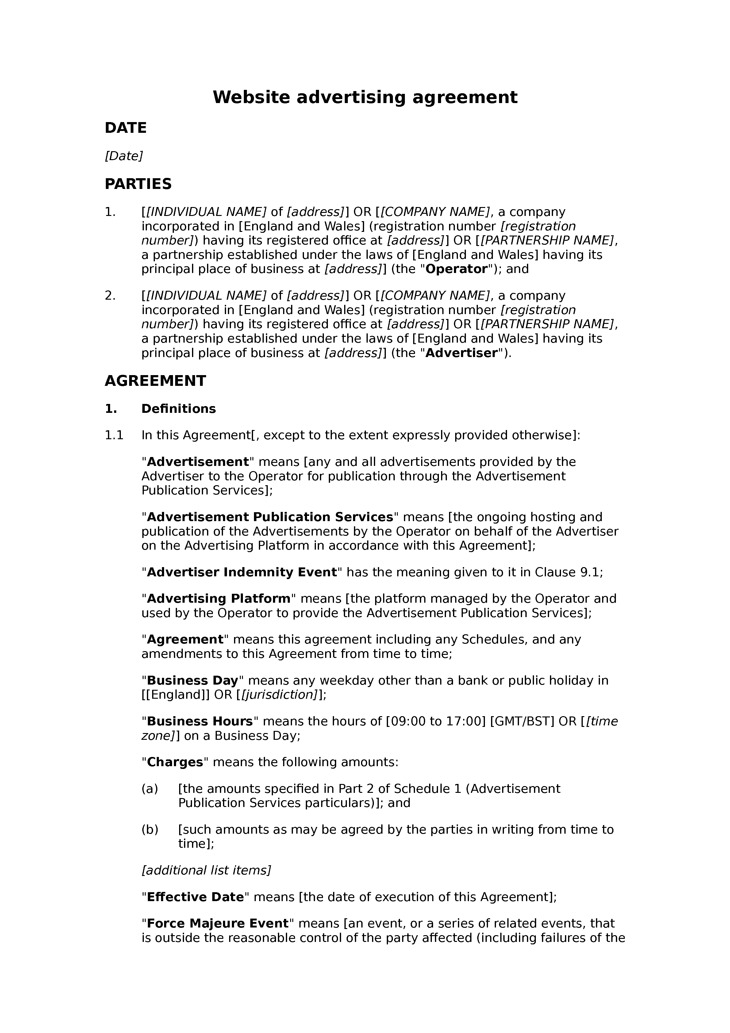 Website advertising agreement document preview