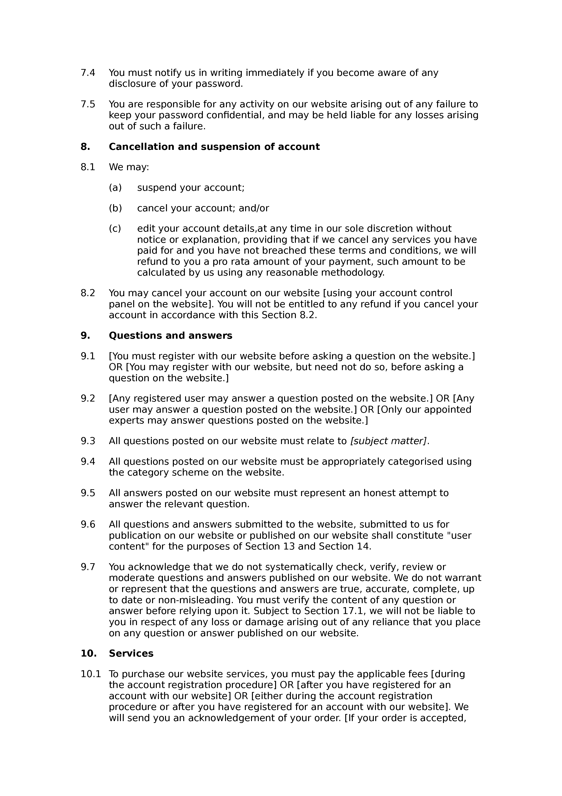 PAYG Q&A website terms and conditions document preview