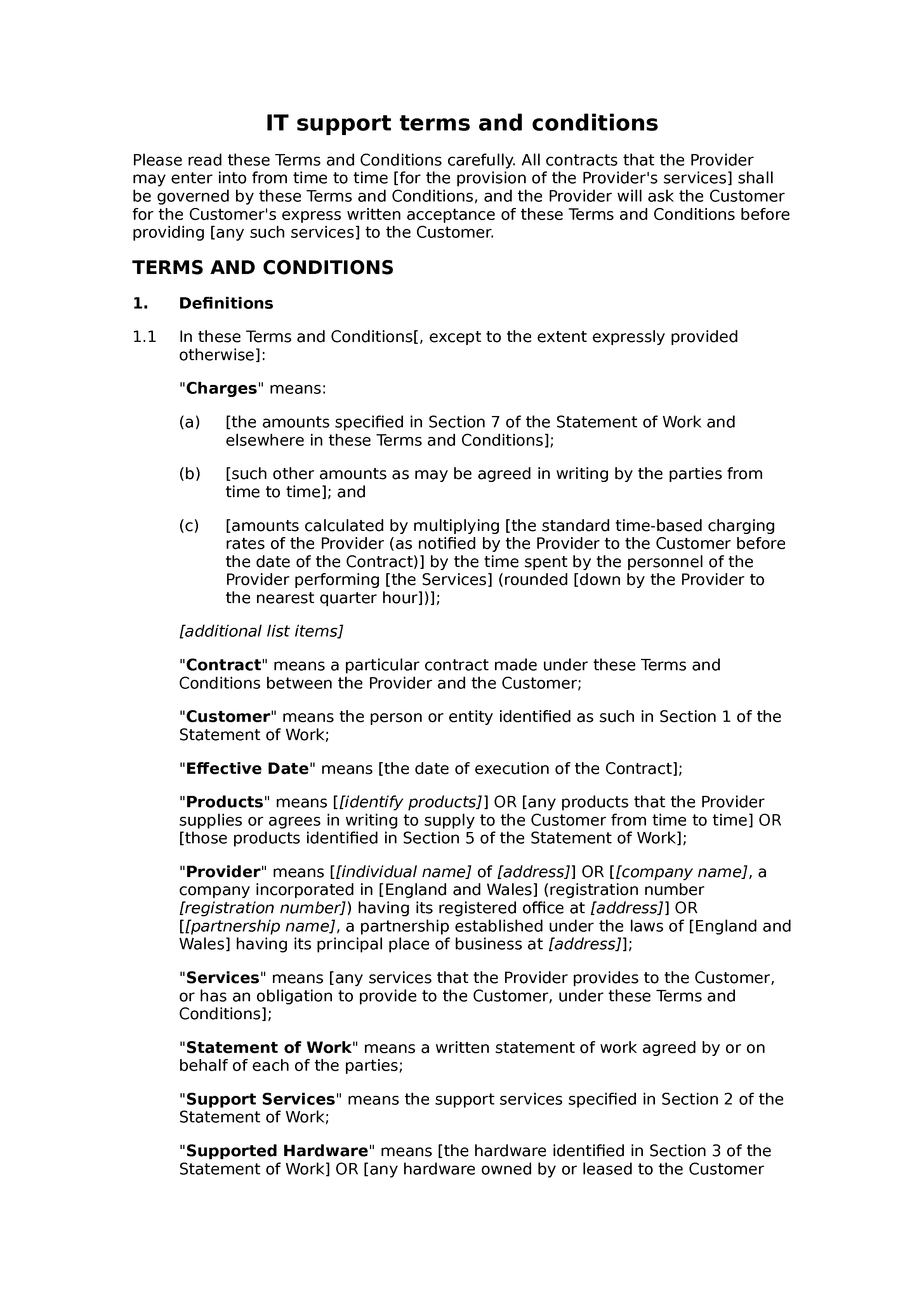 IT support terms and conditions (B2C) document preview