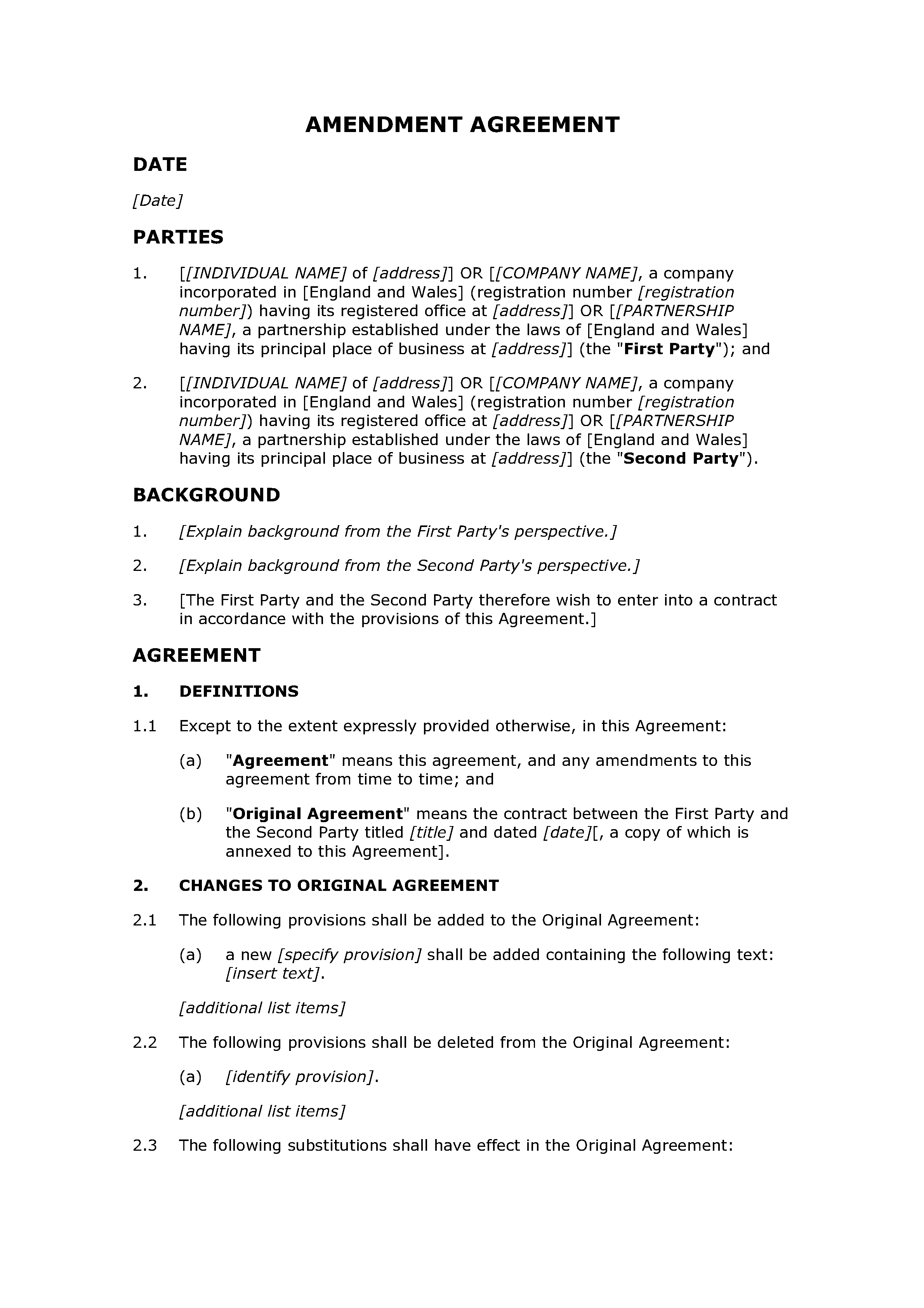 Amendment agreement document preview