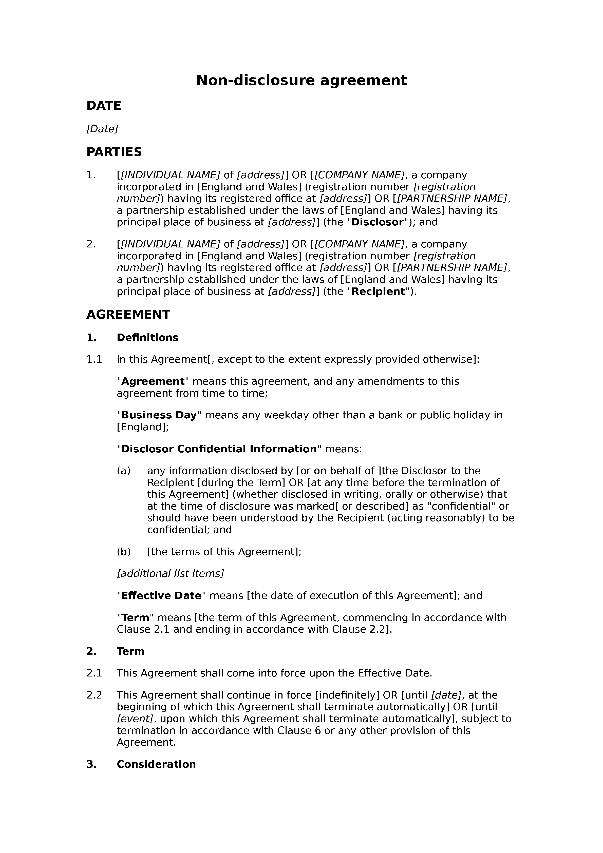 Non-disclosure agreement (unilateral, standard) document preview