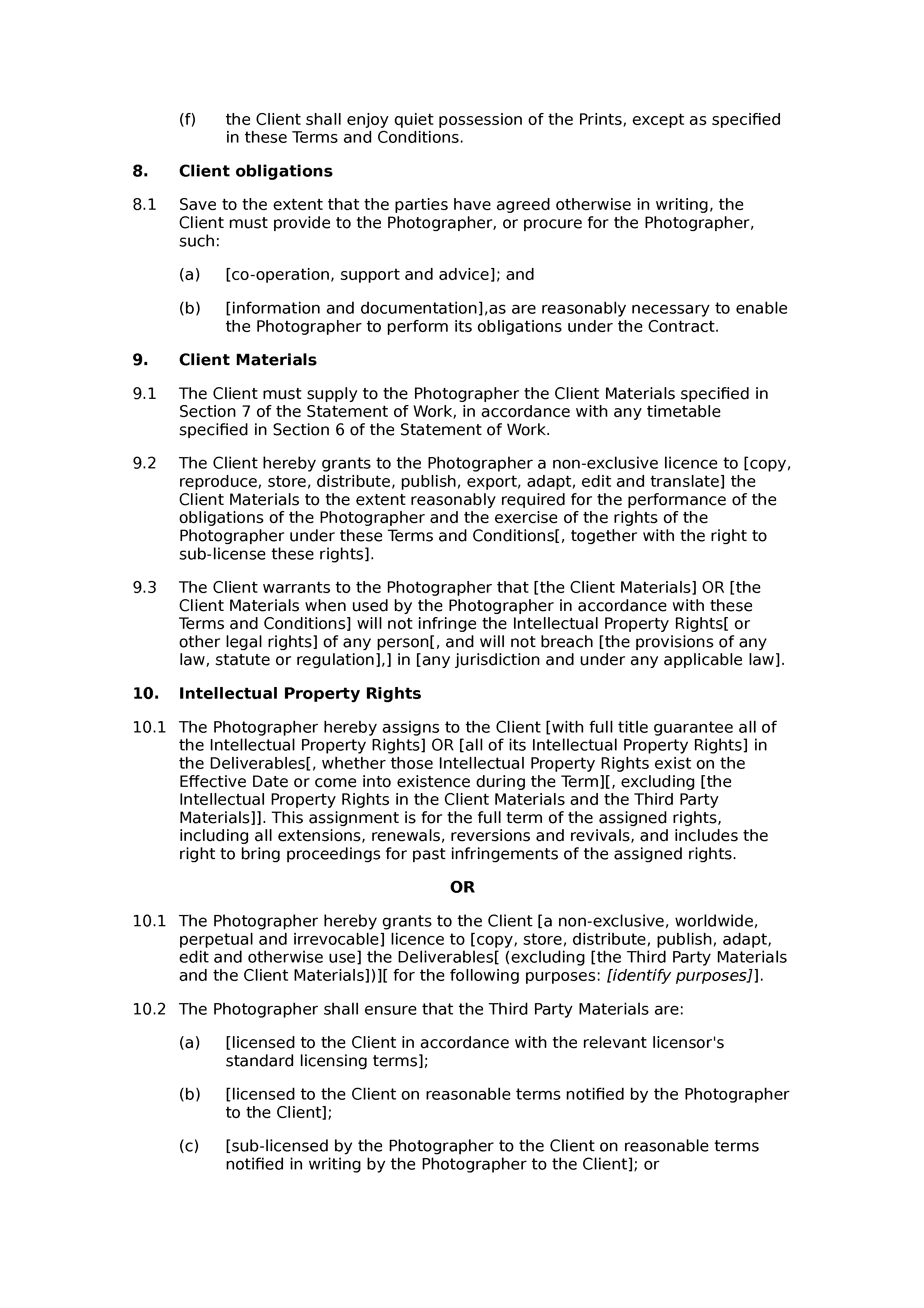 Photography terms and conditions document preview