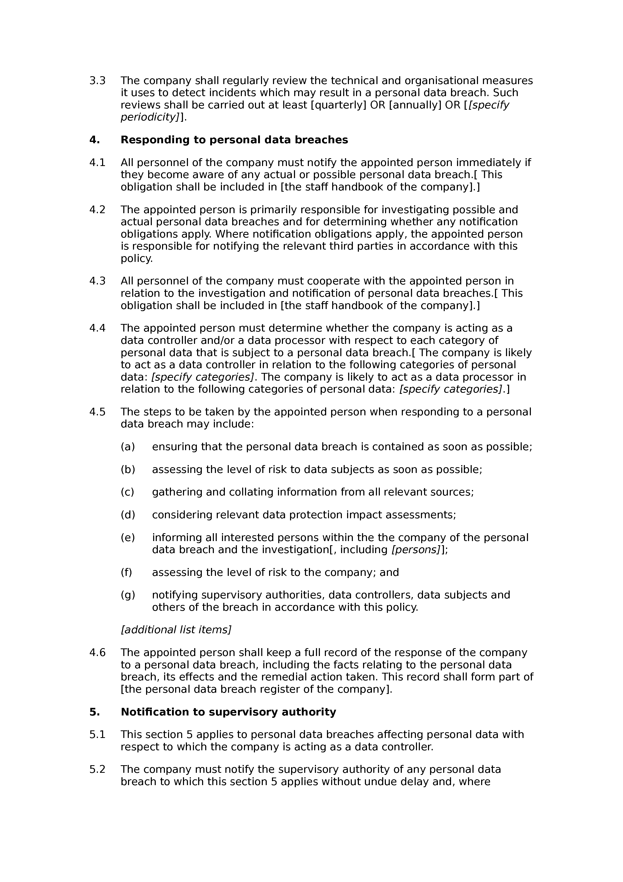 Personal data breach notification policy document preview