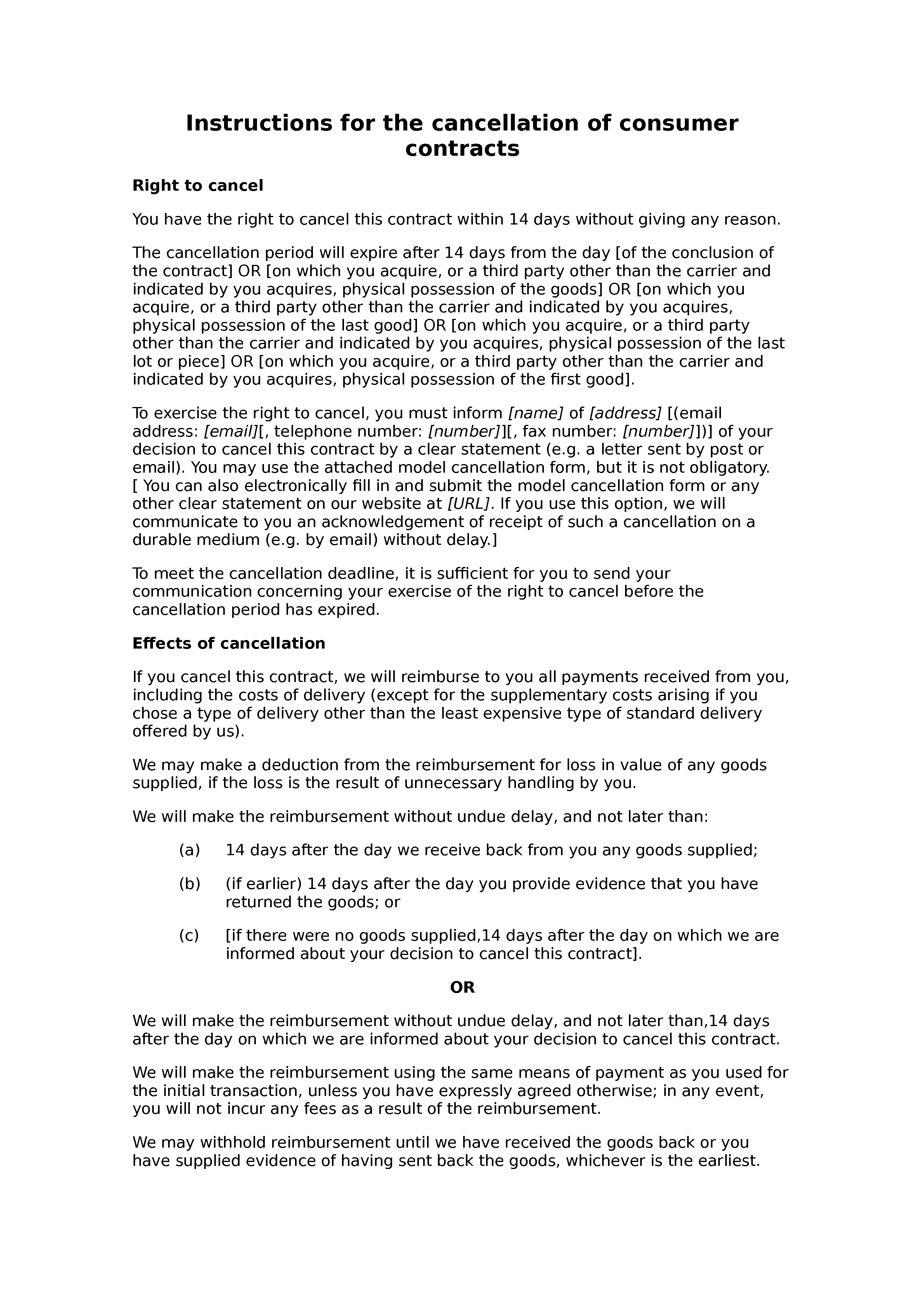 Consumer contracts model instructions for cancellation document preview
