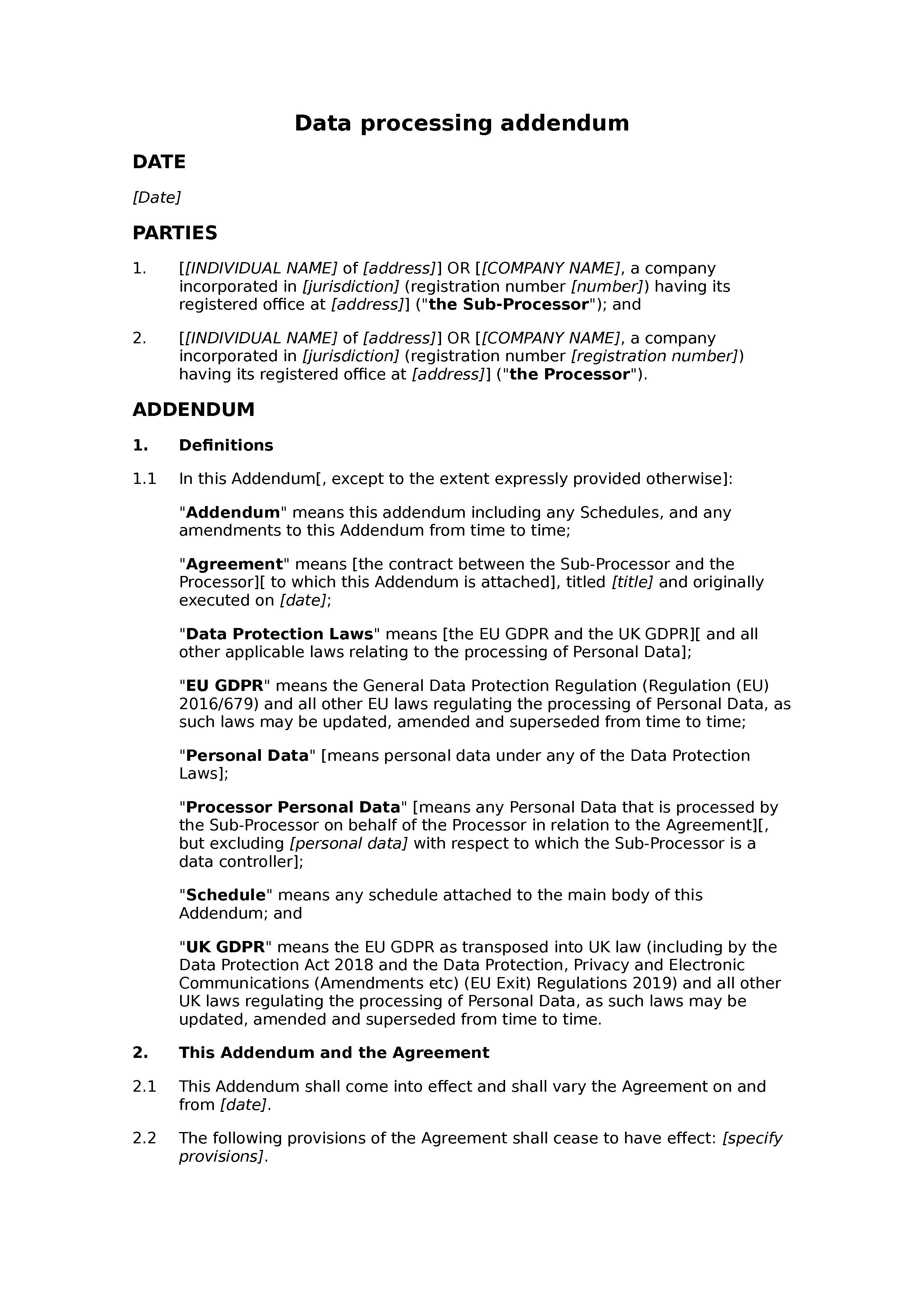 Data processing addendum (processor-sub-processor) document preview