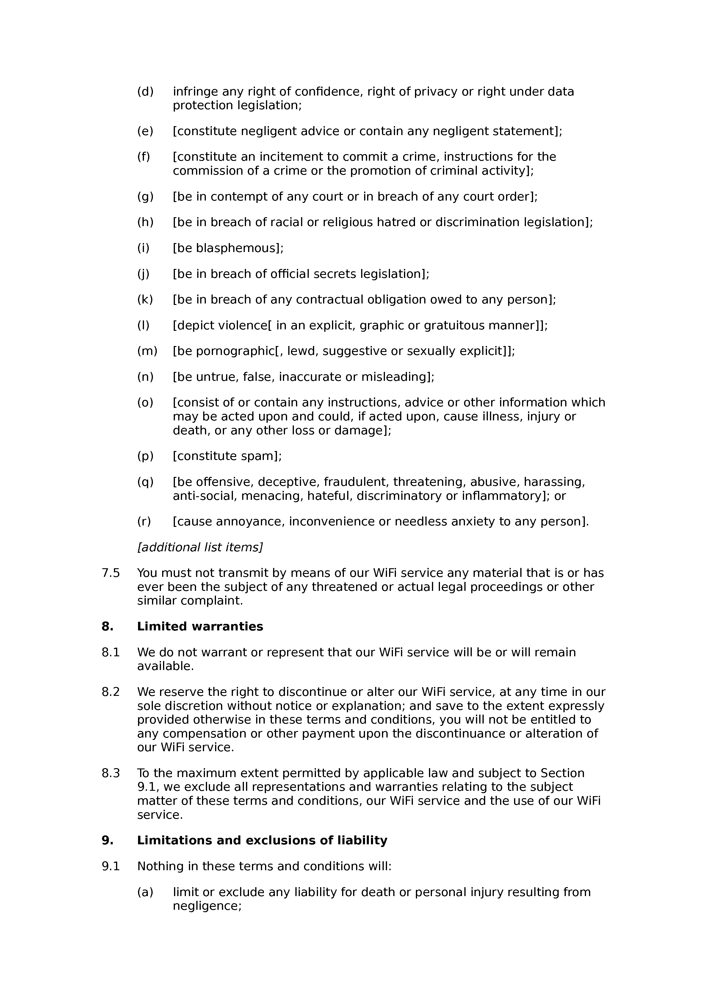 WiFi terms and conditions document preview