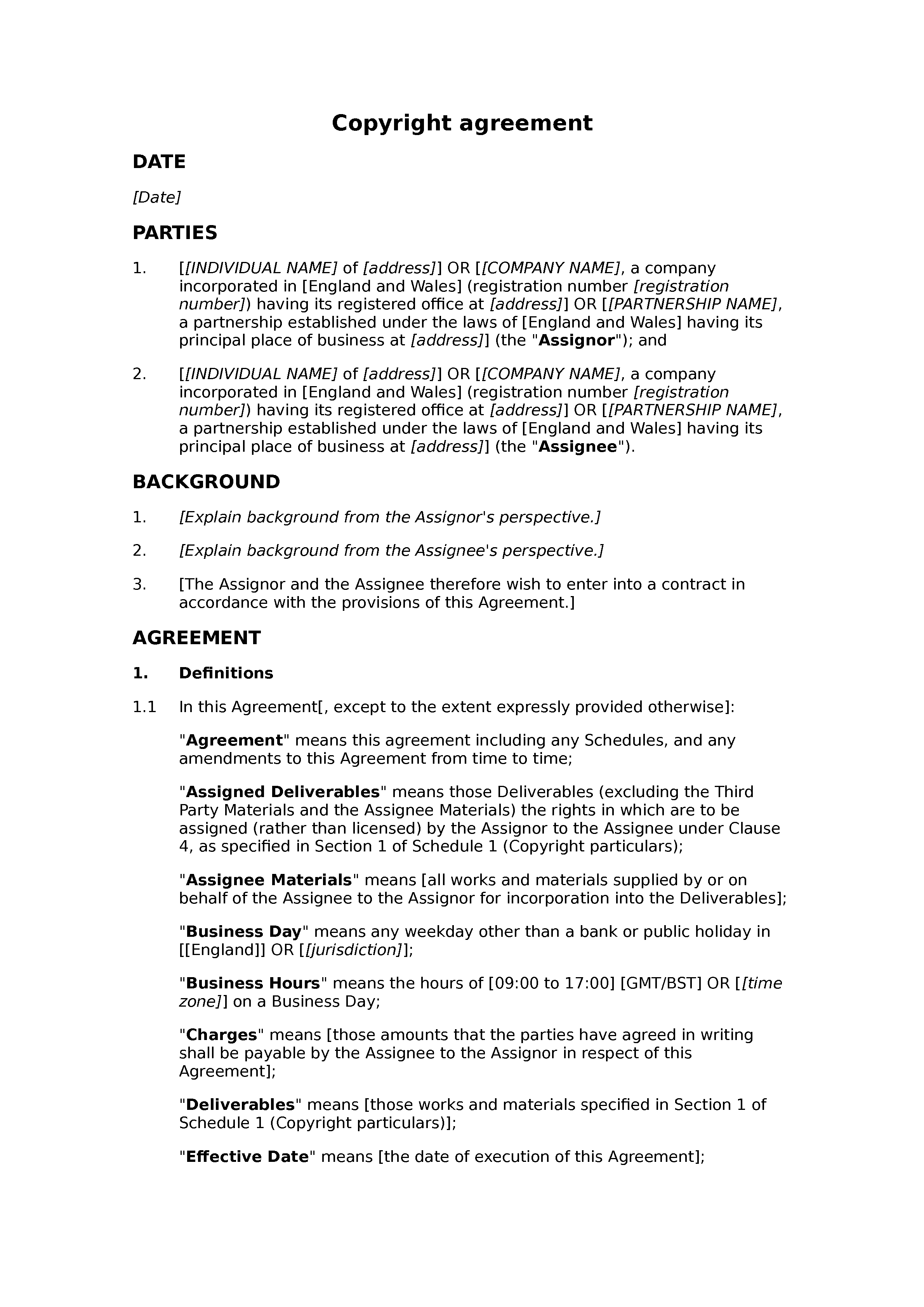 Copyright agreement document preview