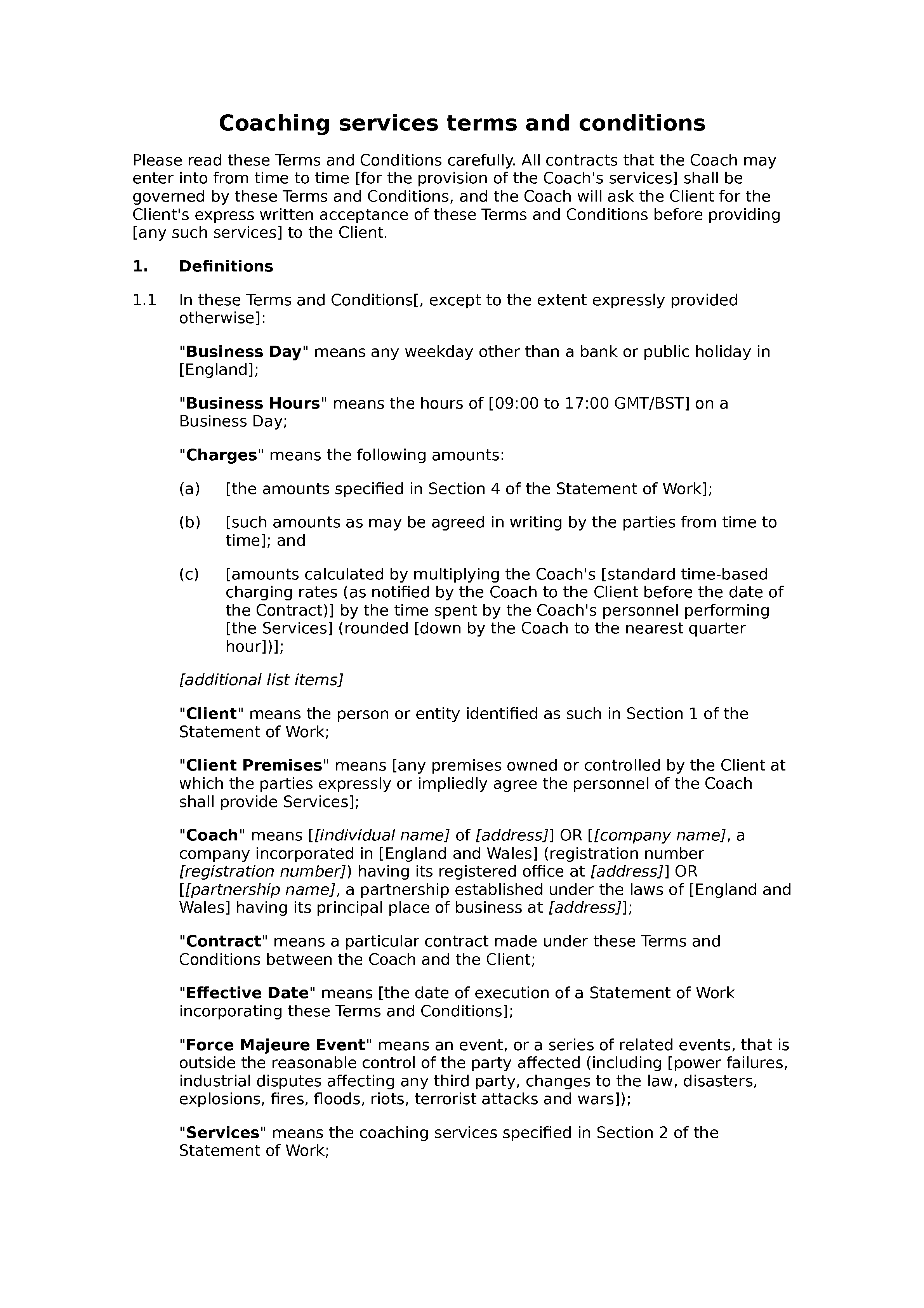 Coaching services terms and conditions document preview