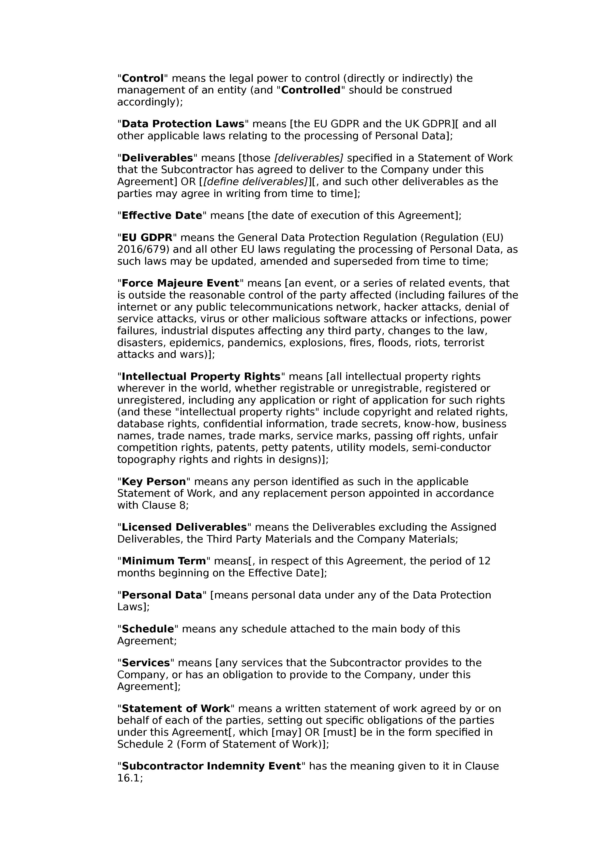 Subcontractor framework agreement (premium) document preview