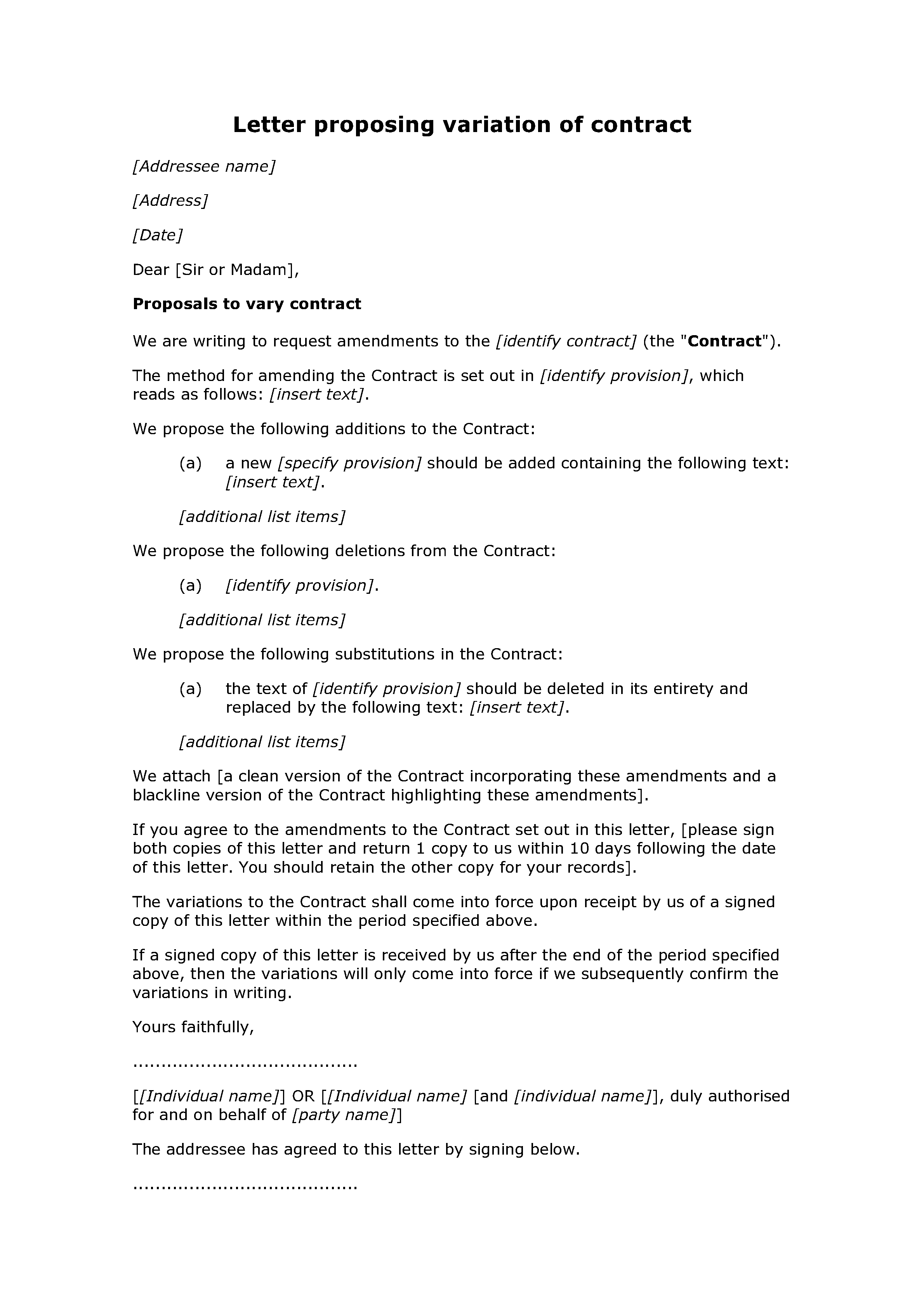 Letter proposing variation of contract - Docular