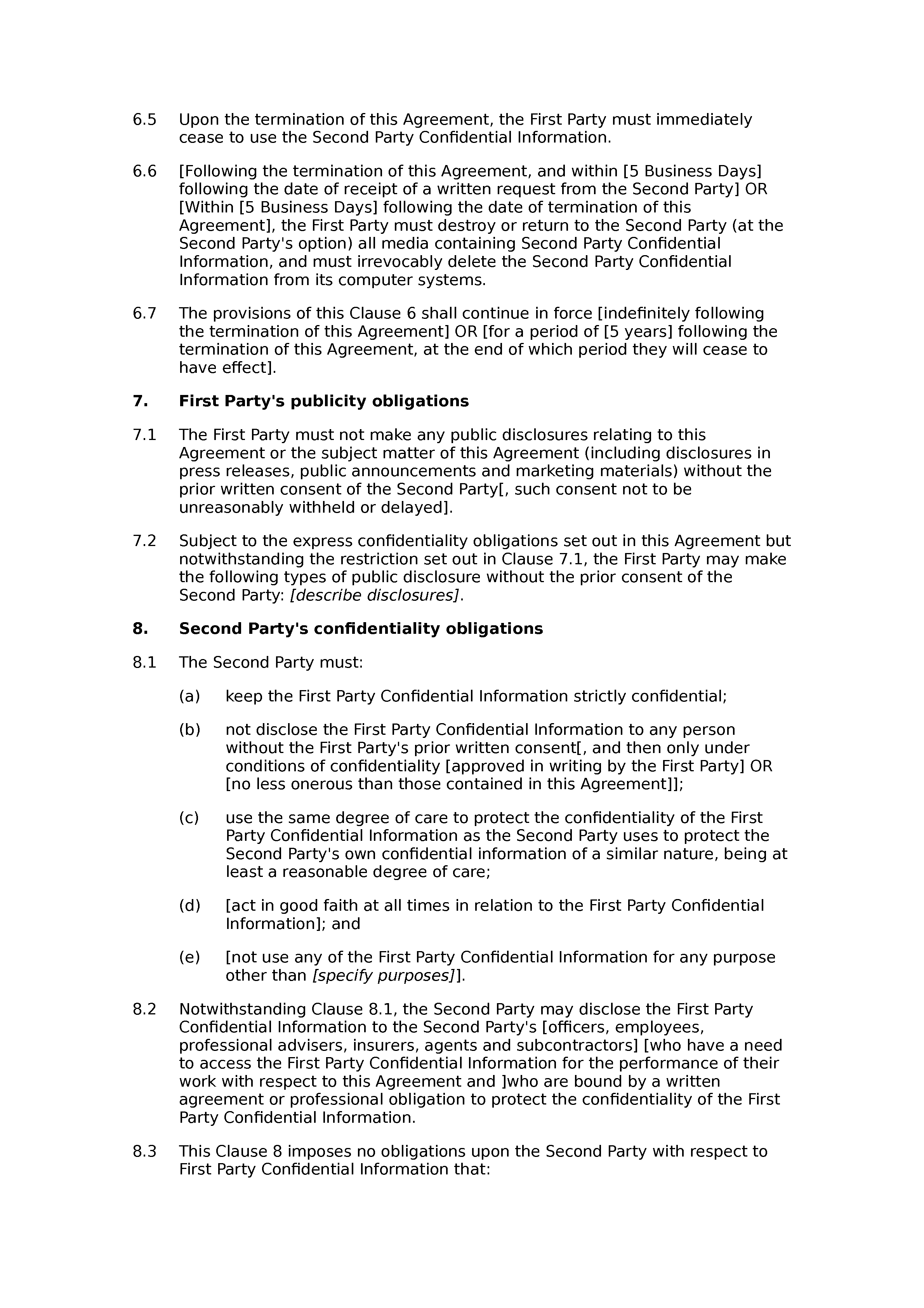 Commission and confidentiality agreement document preview