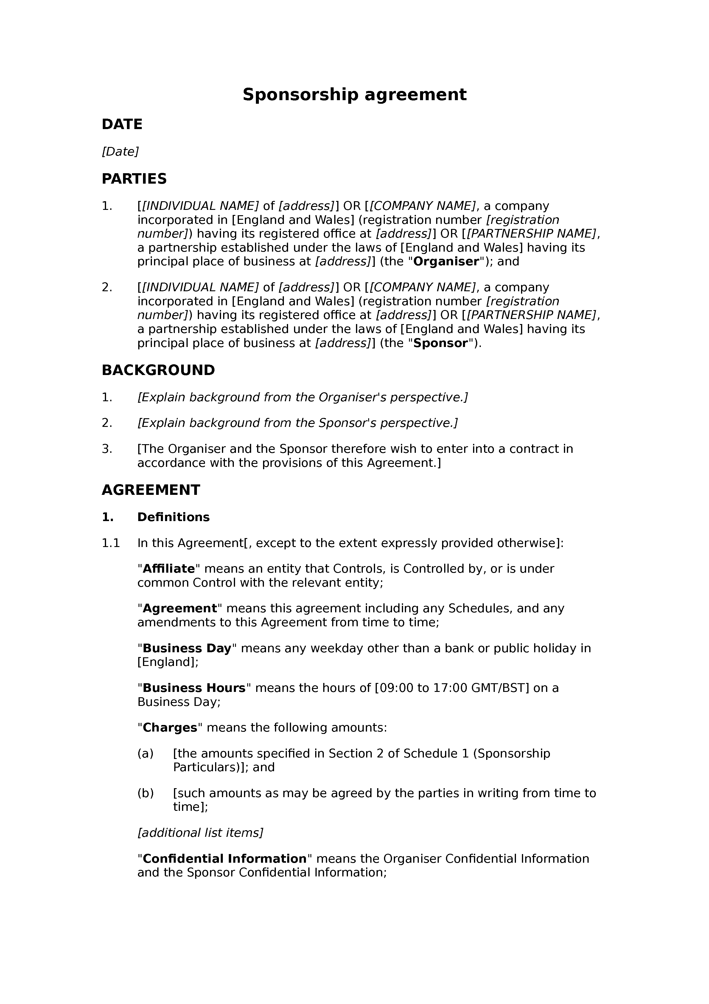 Sponsorship agreement (premium) document preview