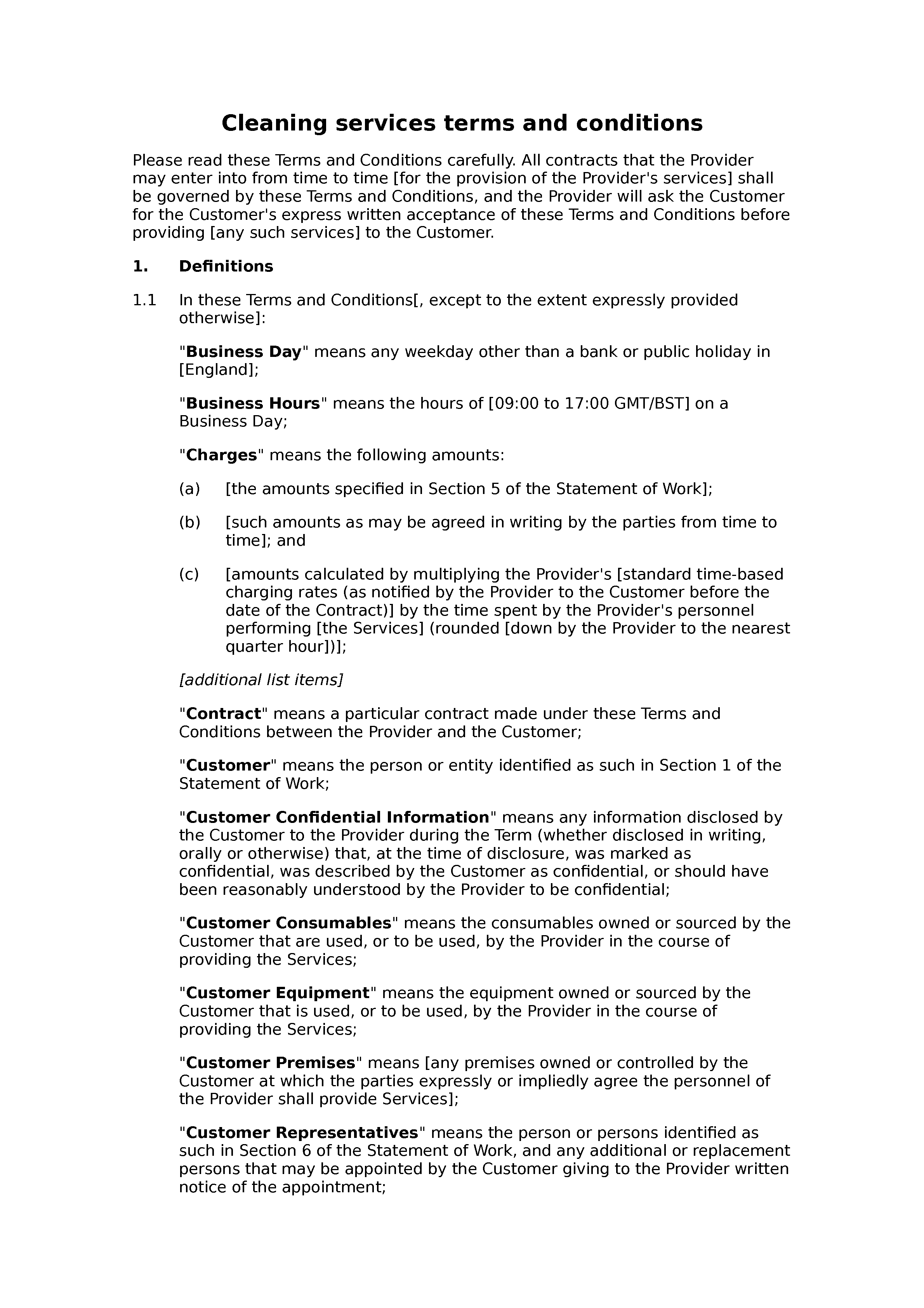 Office cleaning terms and conditions docular for Office cleaning contract template