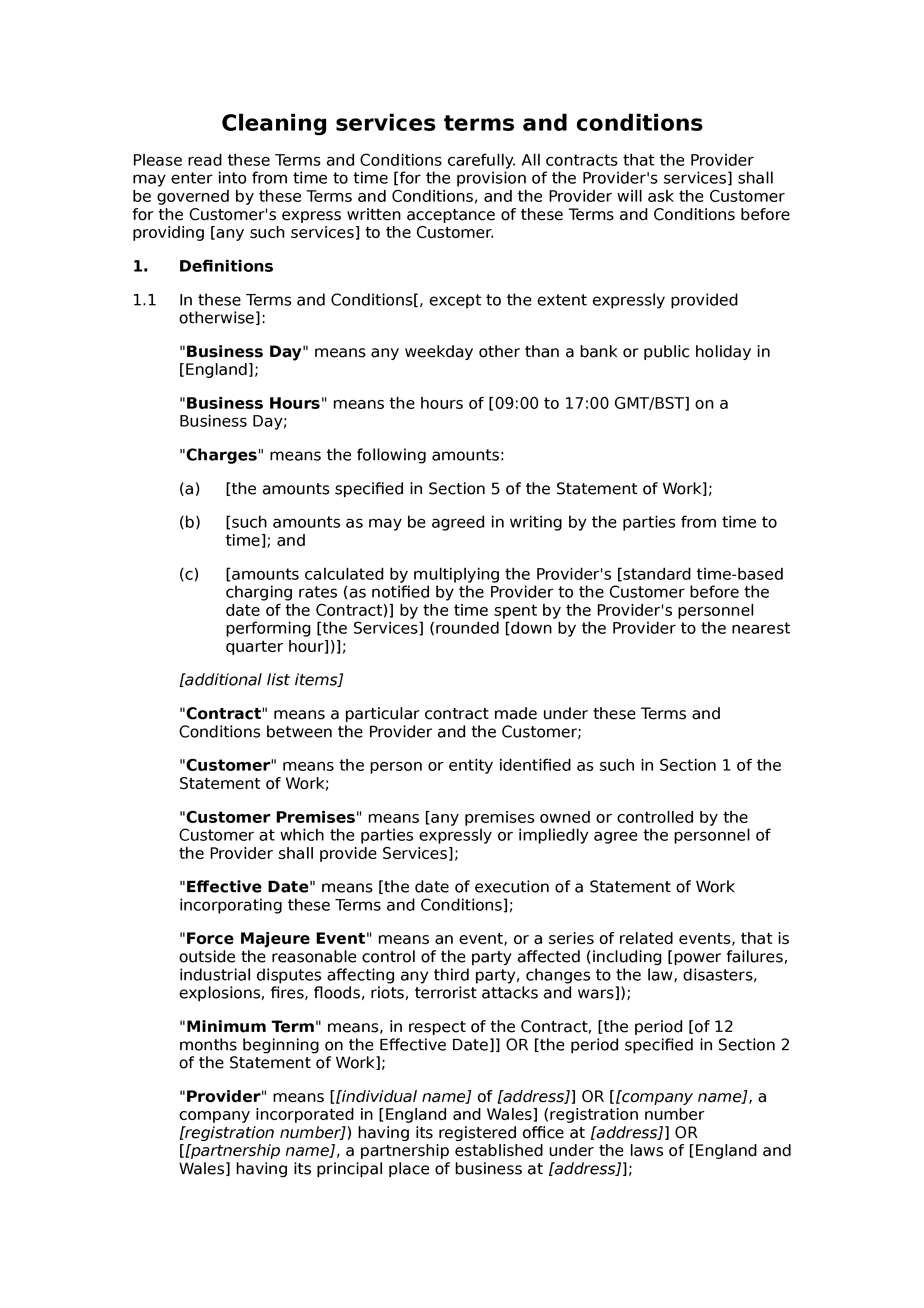 Domestic cleaning terms and conditions docular for Event terms and conditions template