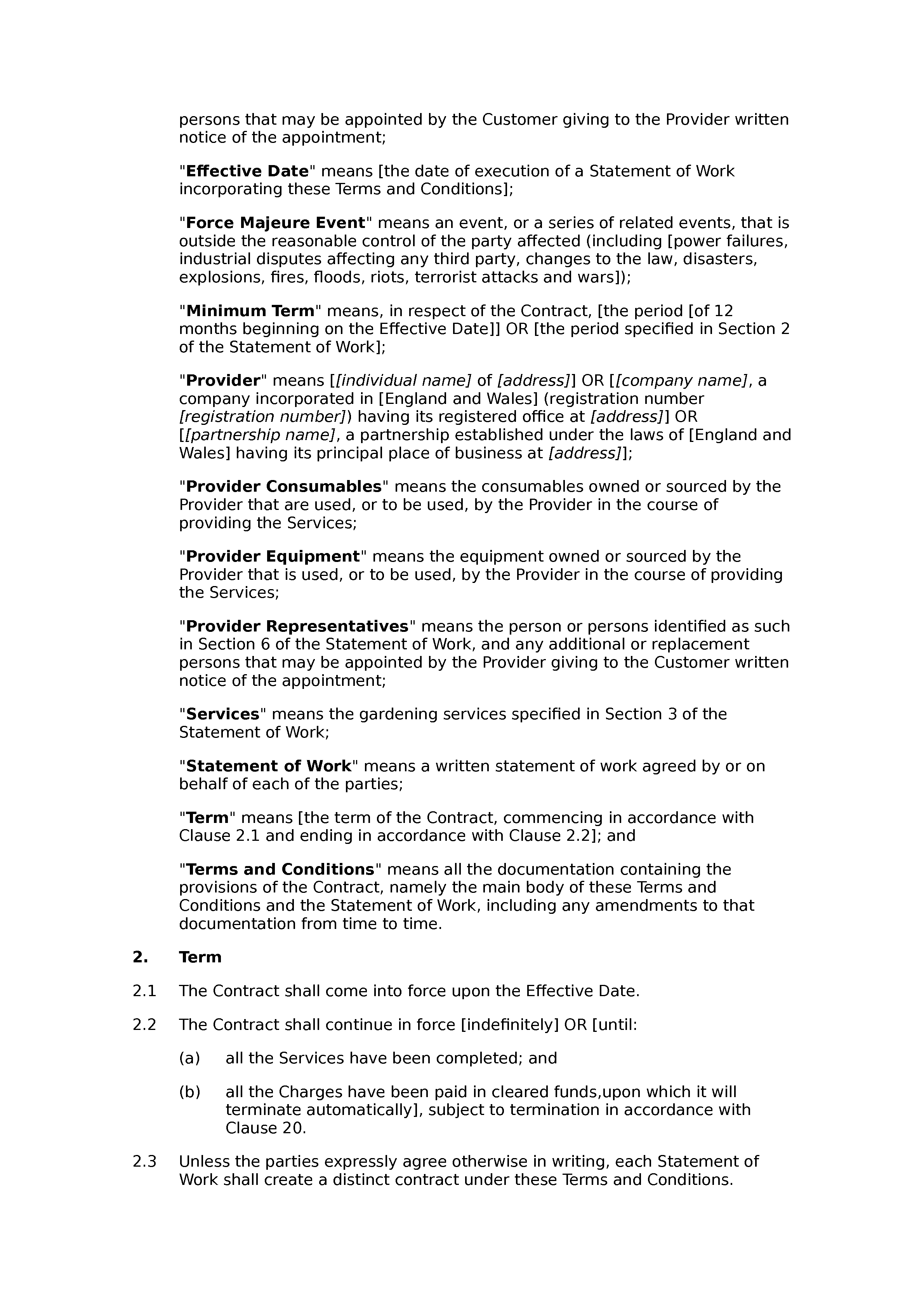 Gardening services terms and conditions document preview