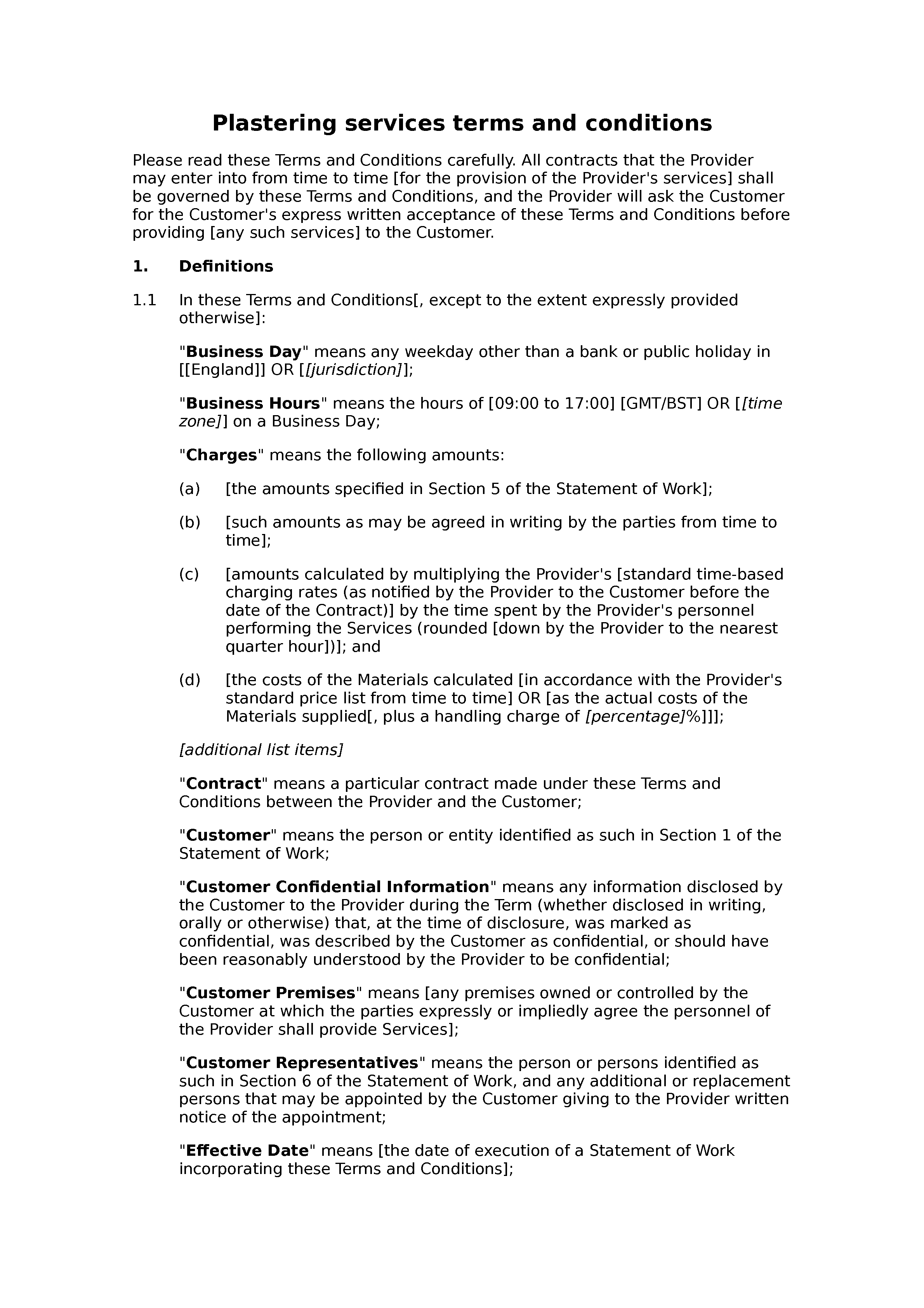 Plastering services terms and conditions document preview