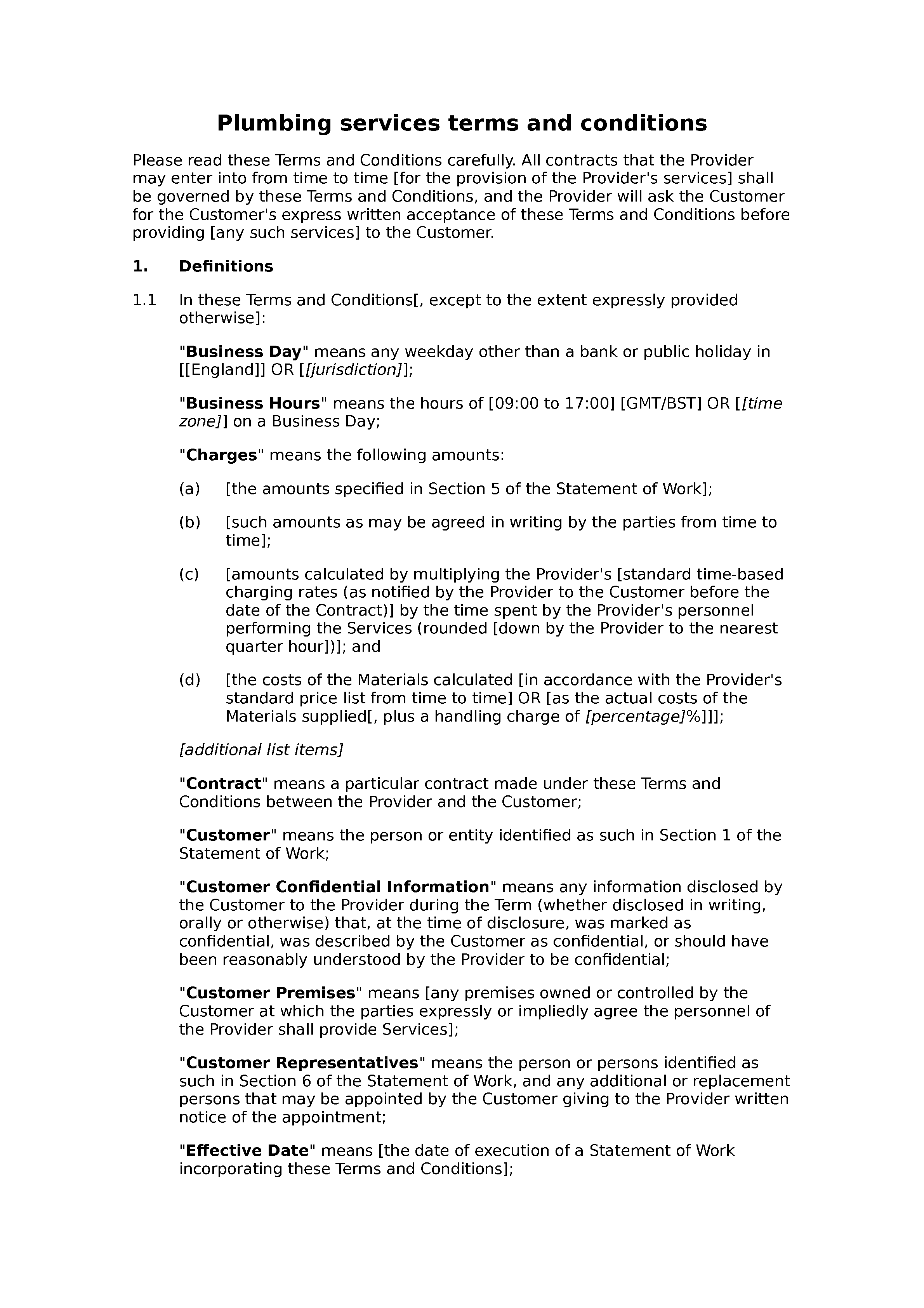 Plumbing services terms and conditions document preview