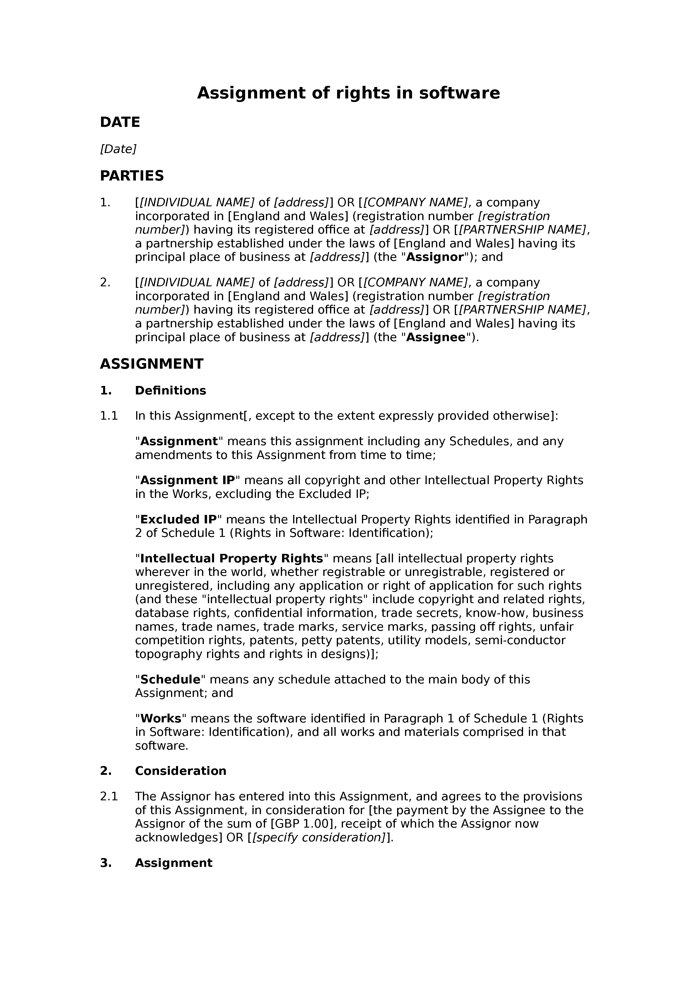 Assignment of rights in software document preview