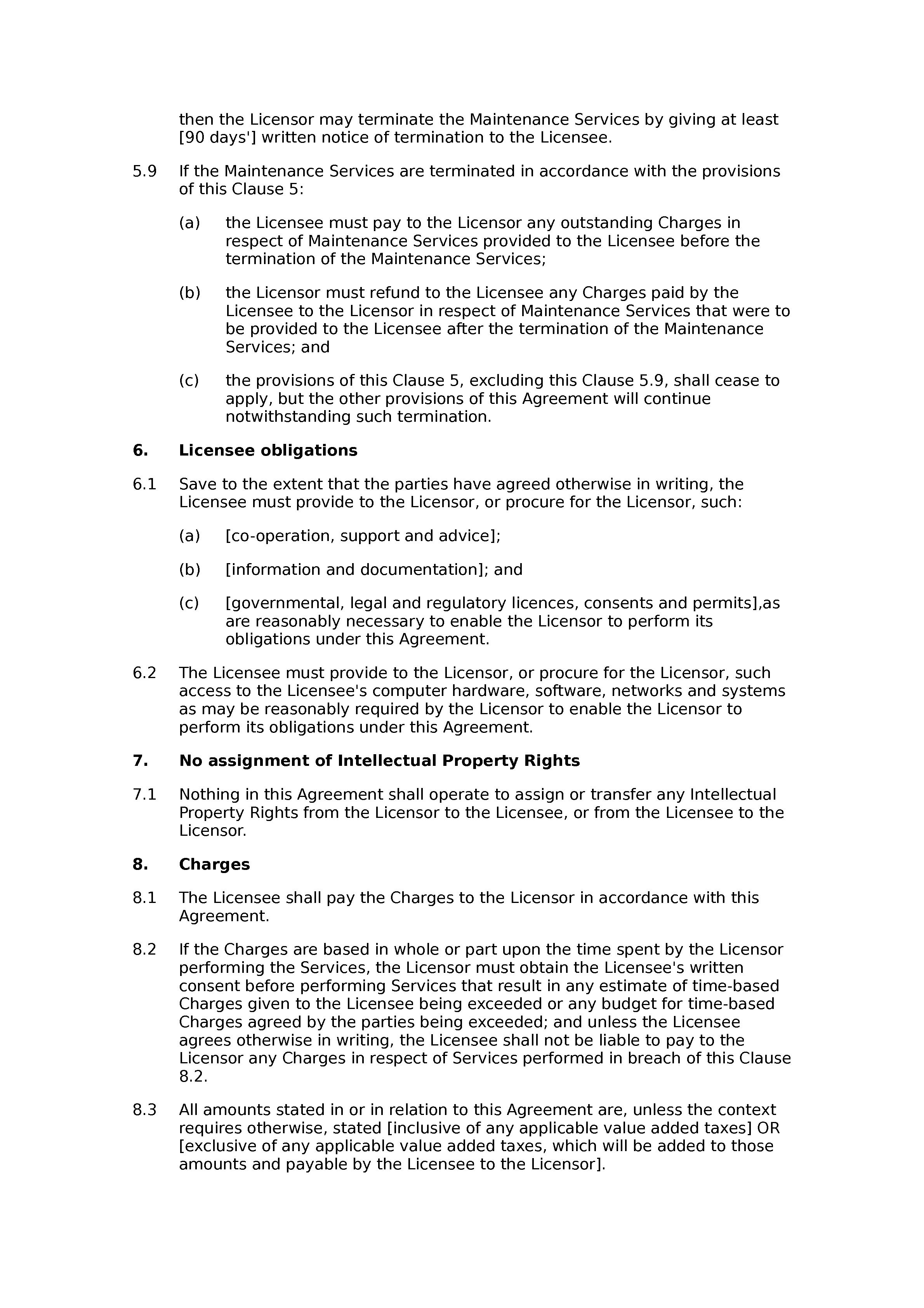 Software licence and maintenance agreement (basic) document preview