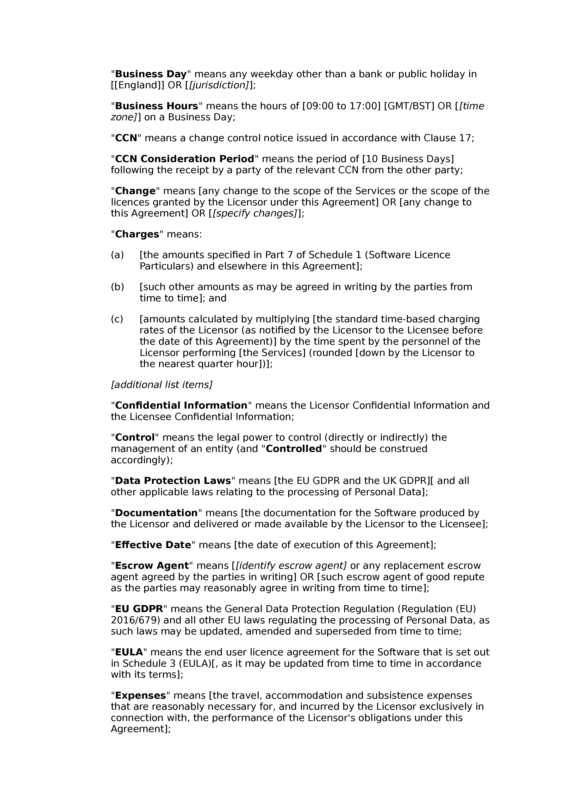 Software licence and maintenance agreement (premium) document preview