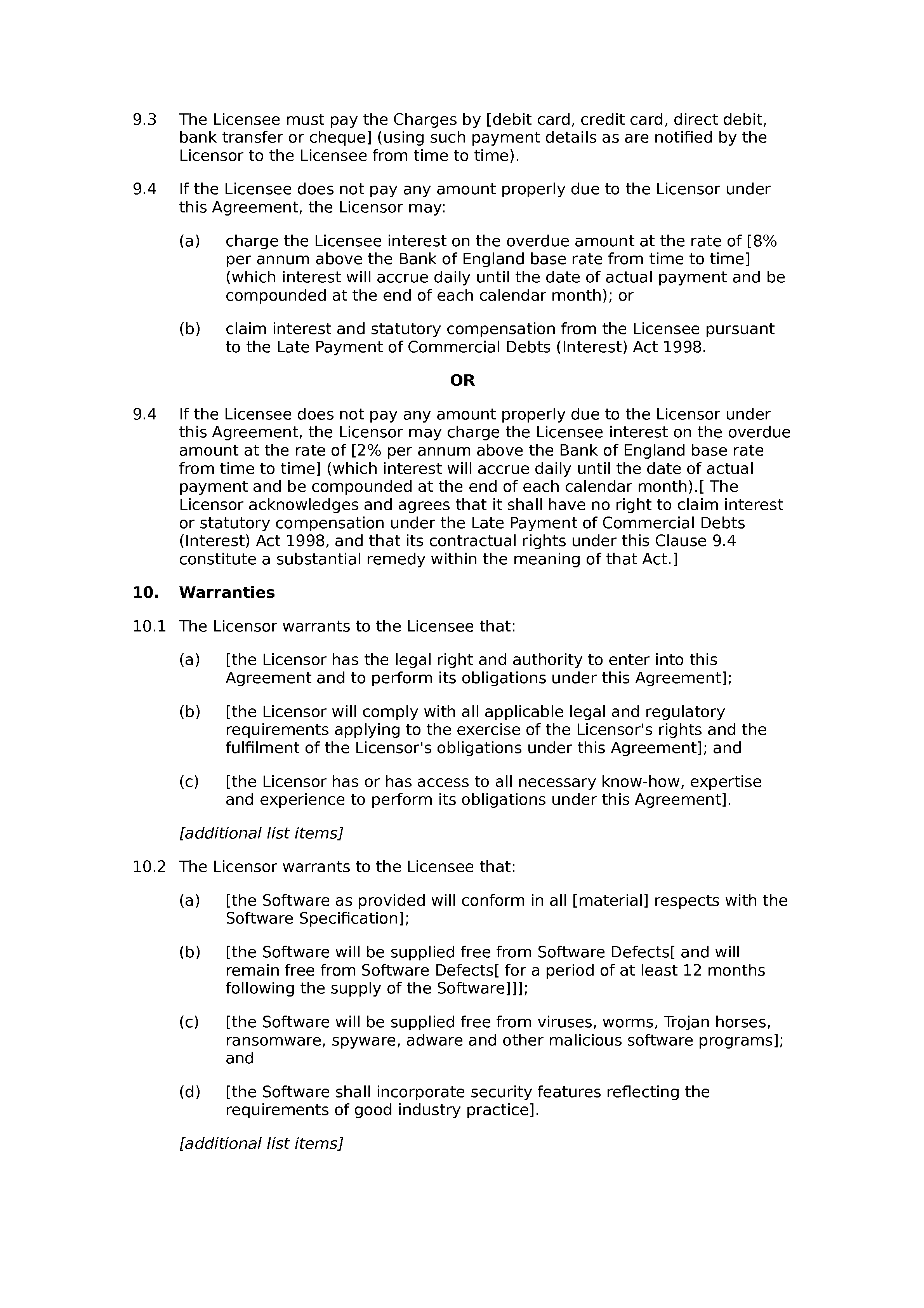 Software licence and support agreement (basic) document preview