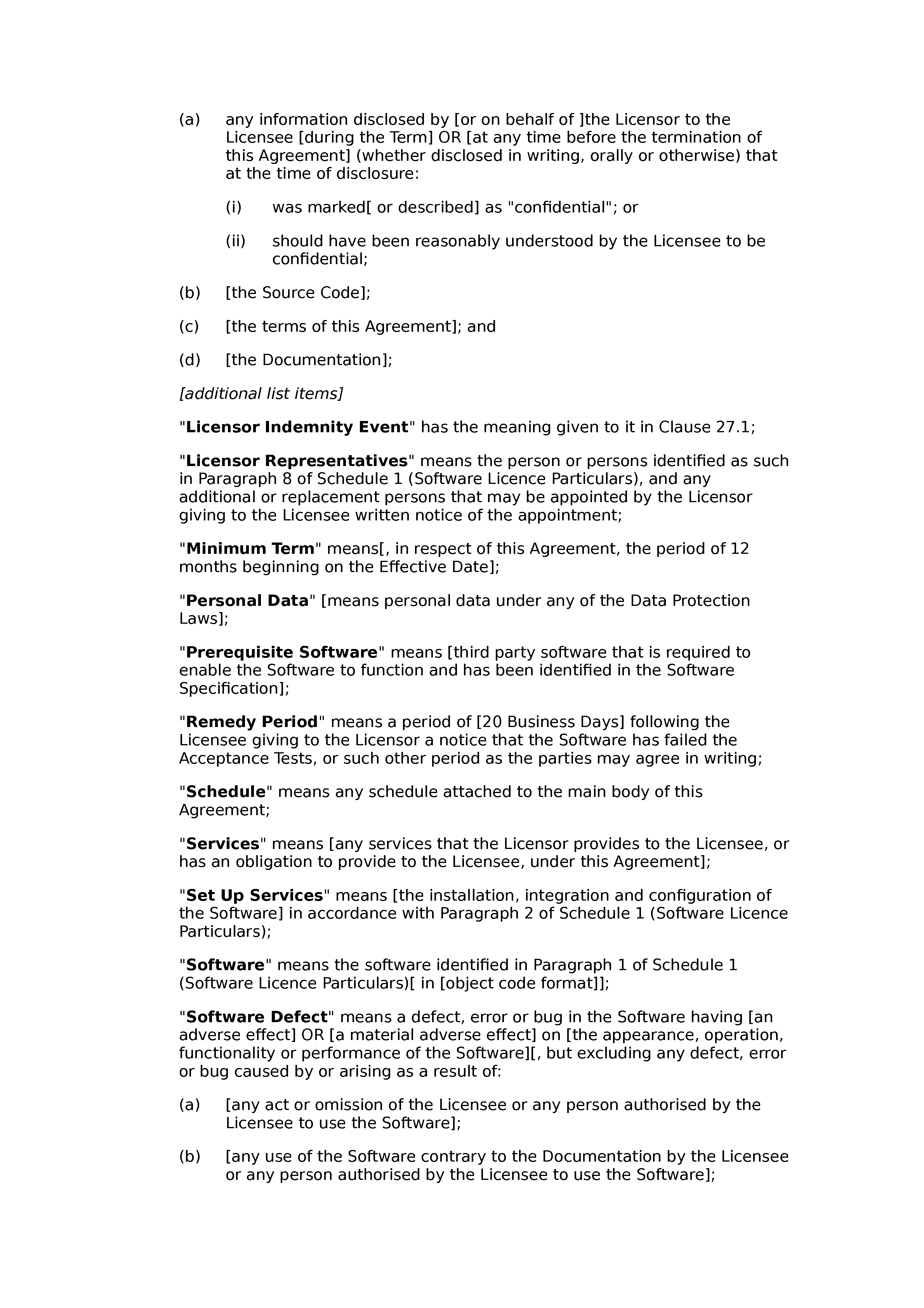 Software licence and support agreement (premium) document preview