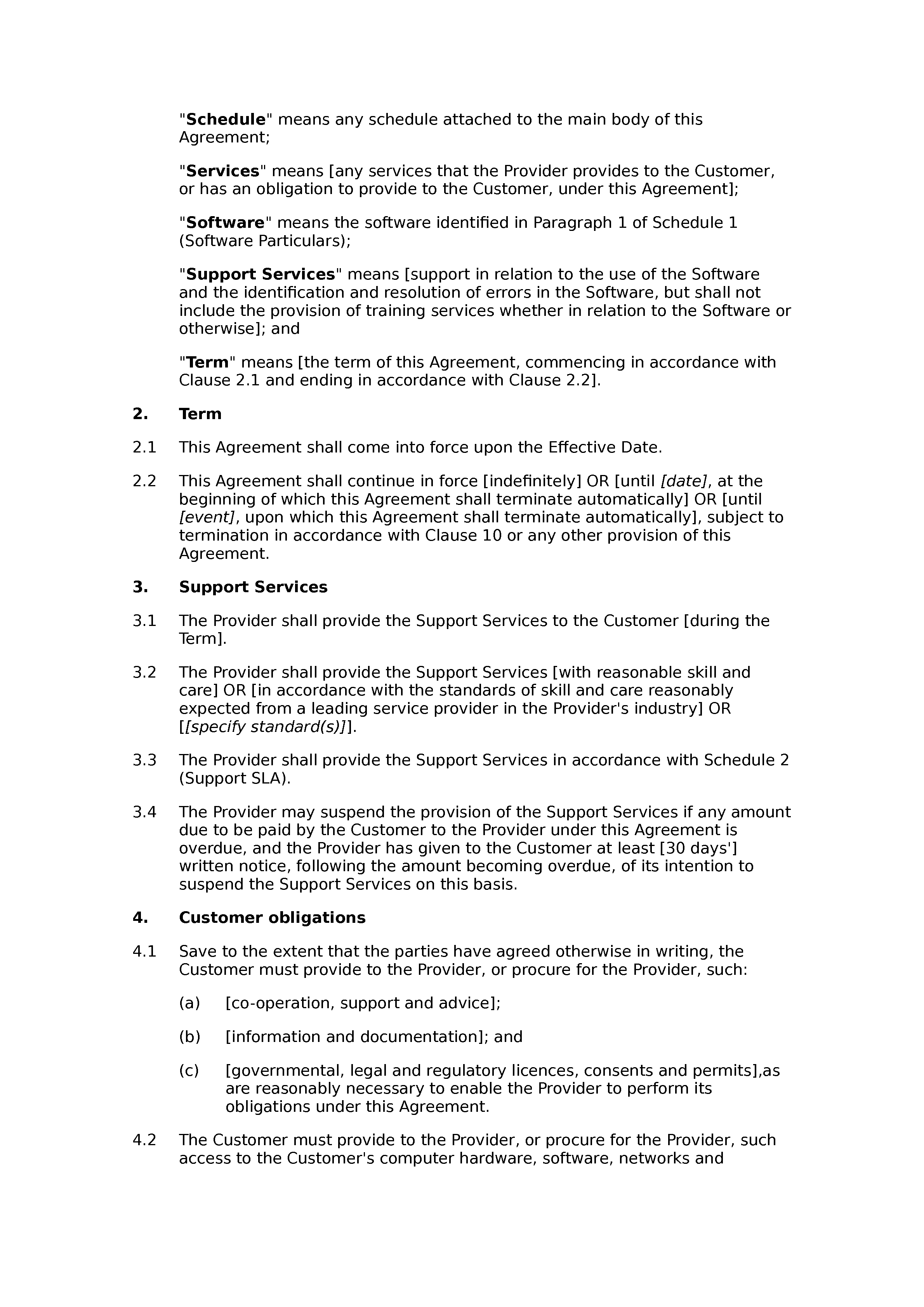 Software support agreement (basic) document preview