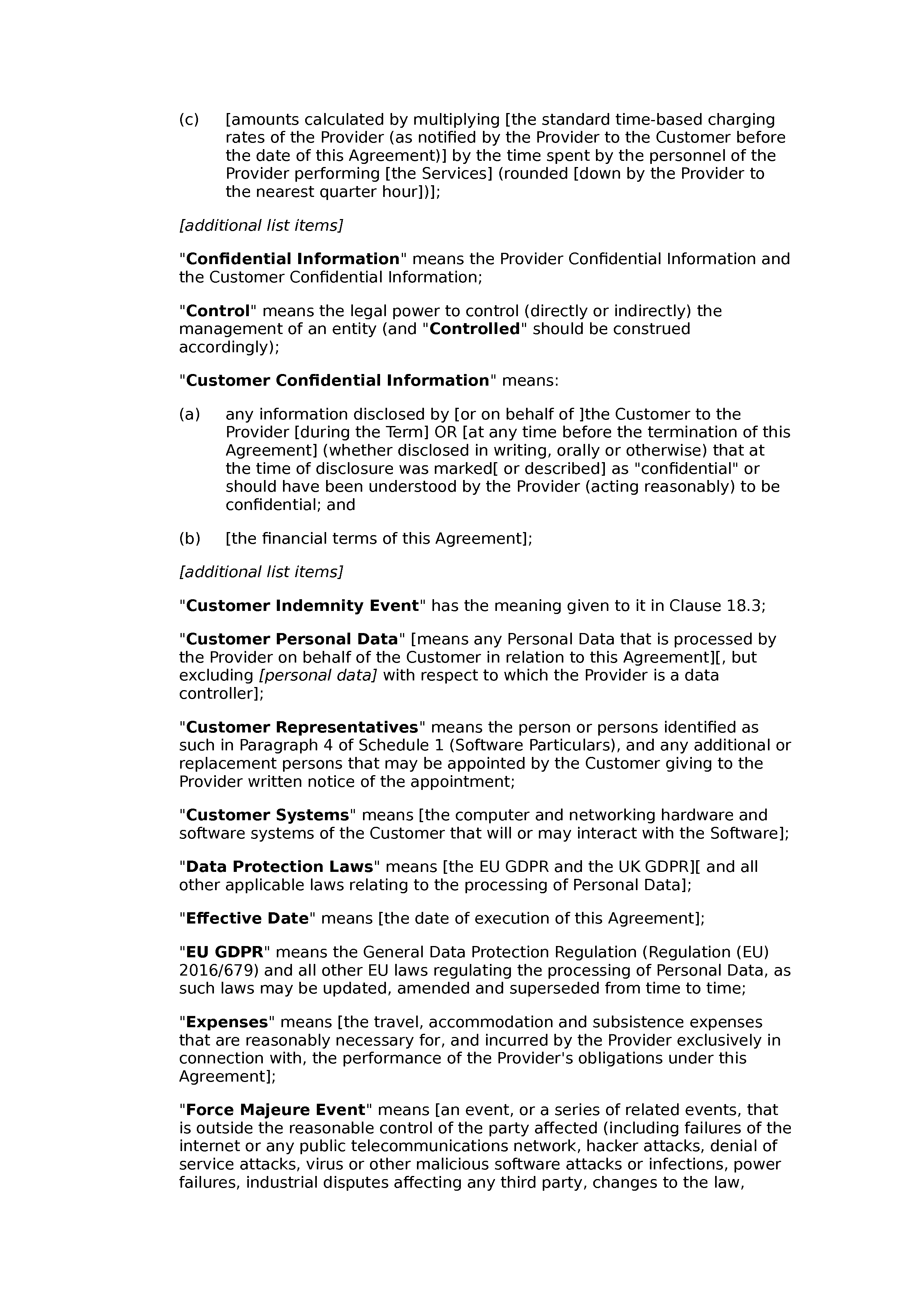Software support agreement (premium) document preview