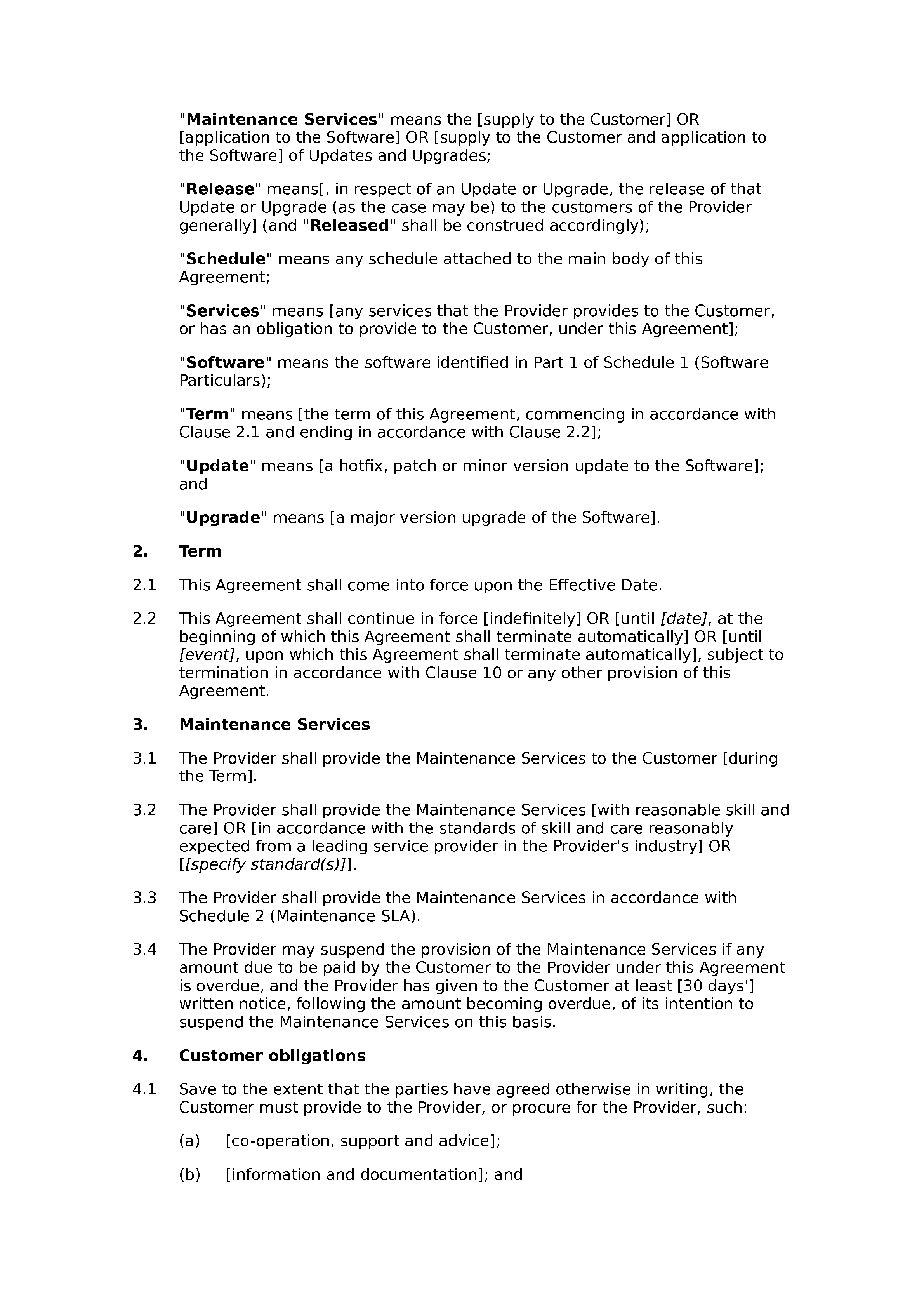 Software maintenance agreement (basic) document preview