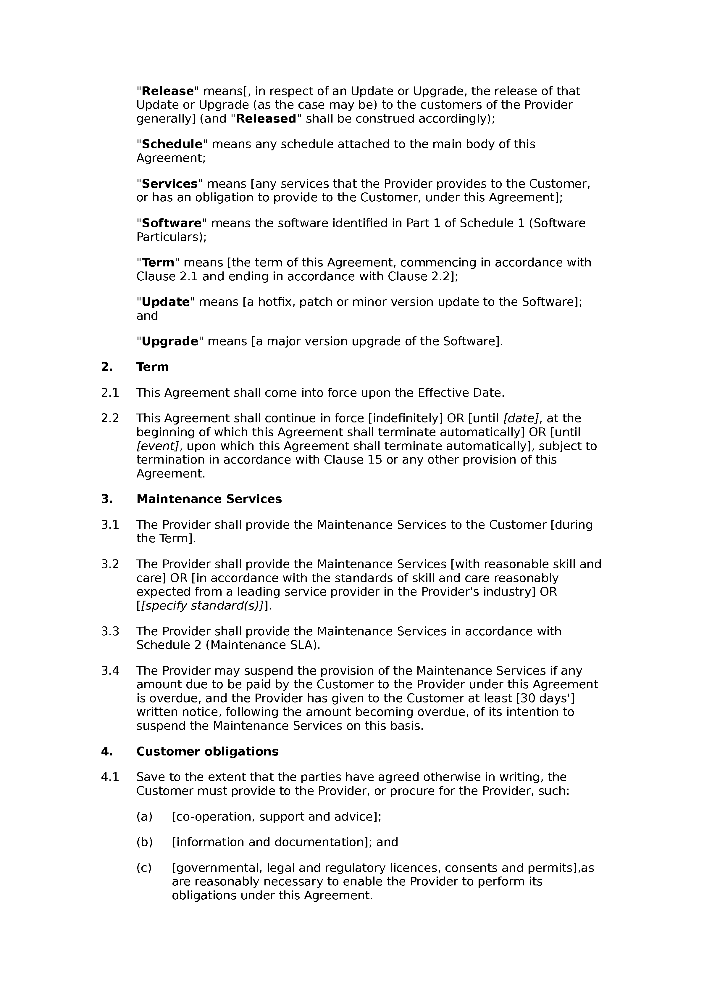 Software maintenance agreement (standard) document preview