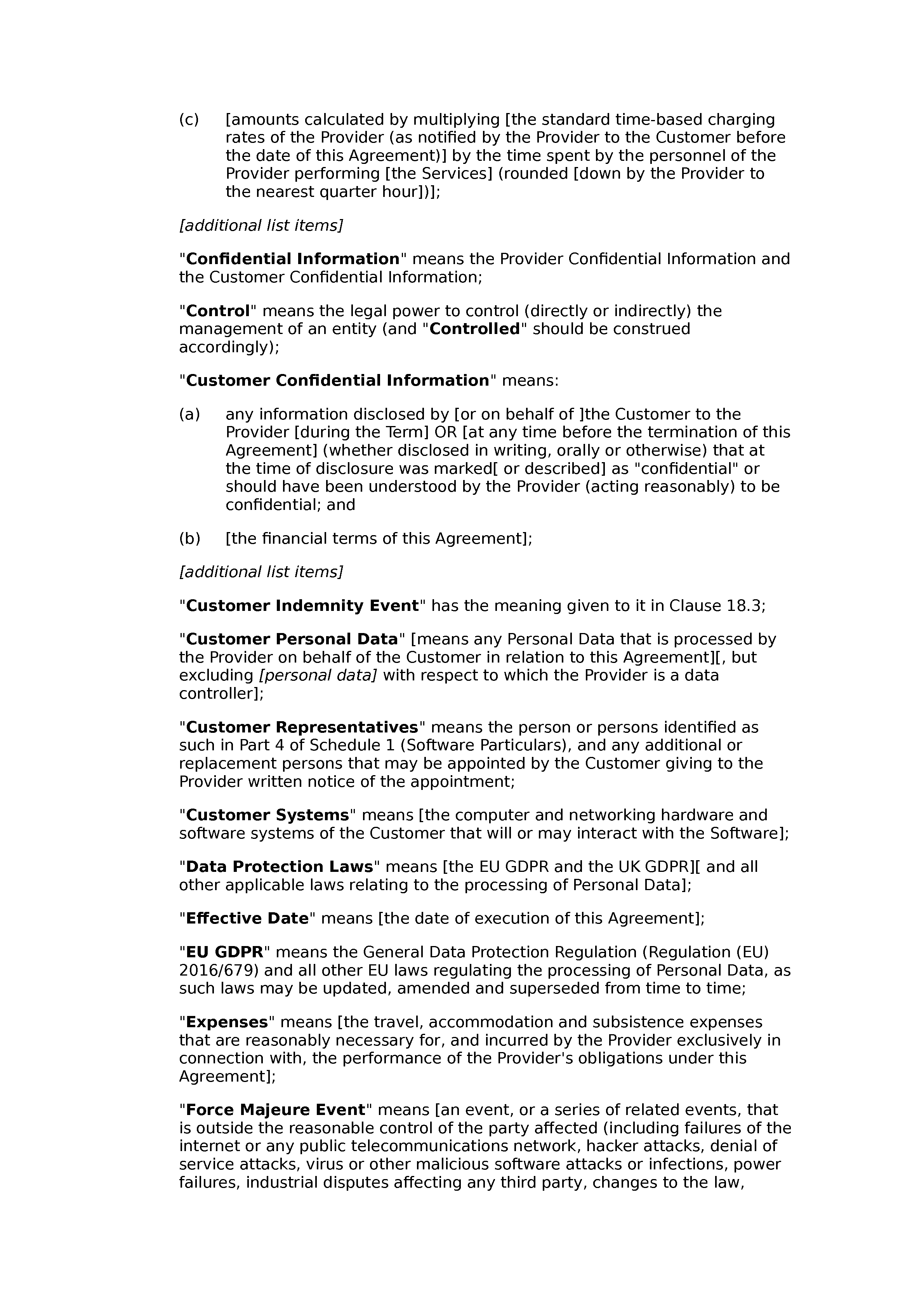 Software maintenance agreement (premium) document preview
