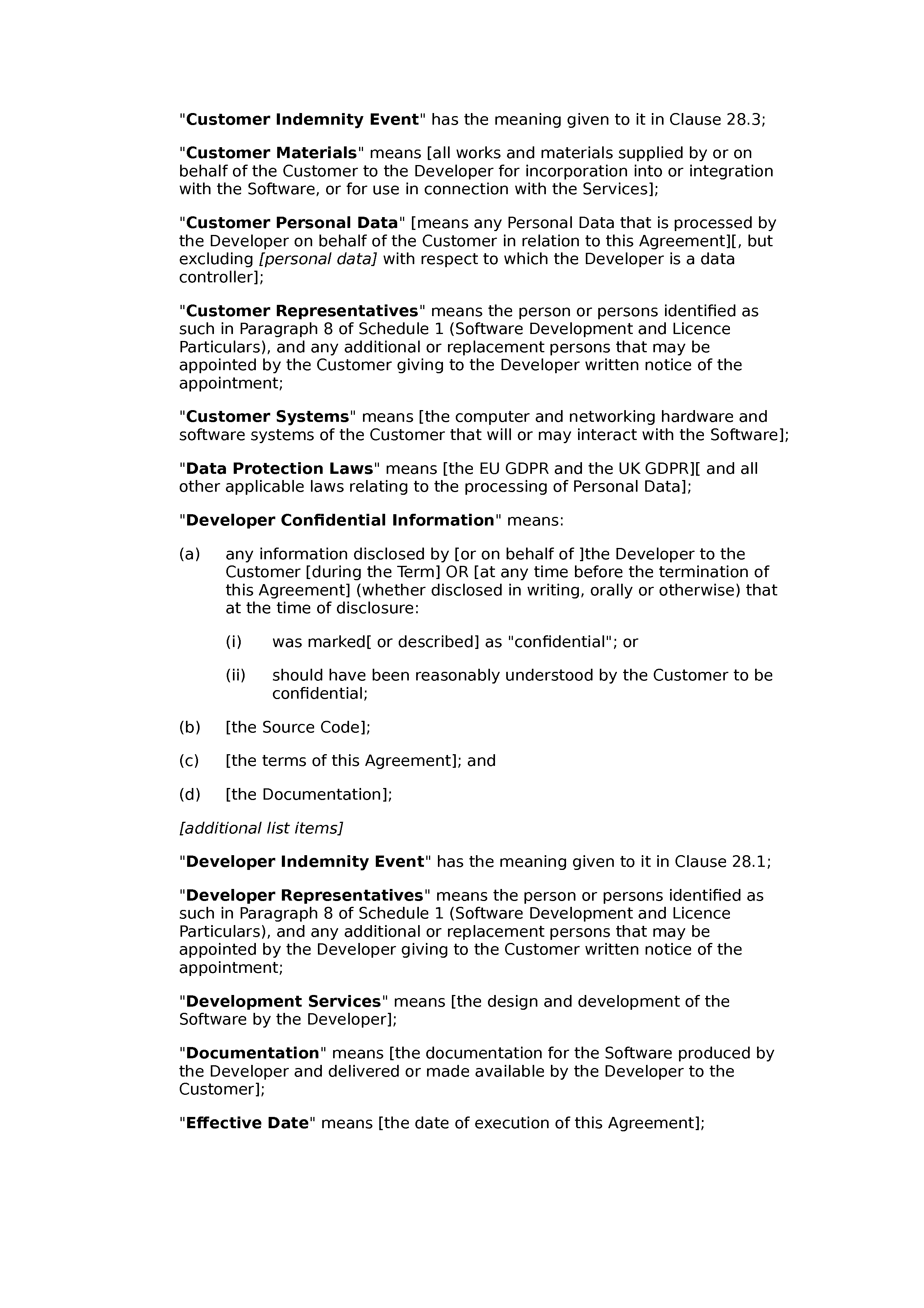 Software development, licence, support and maintenance agreement (premium) document preview