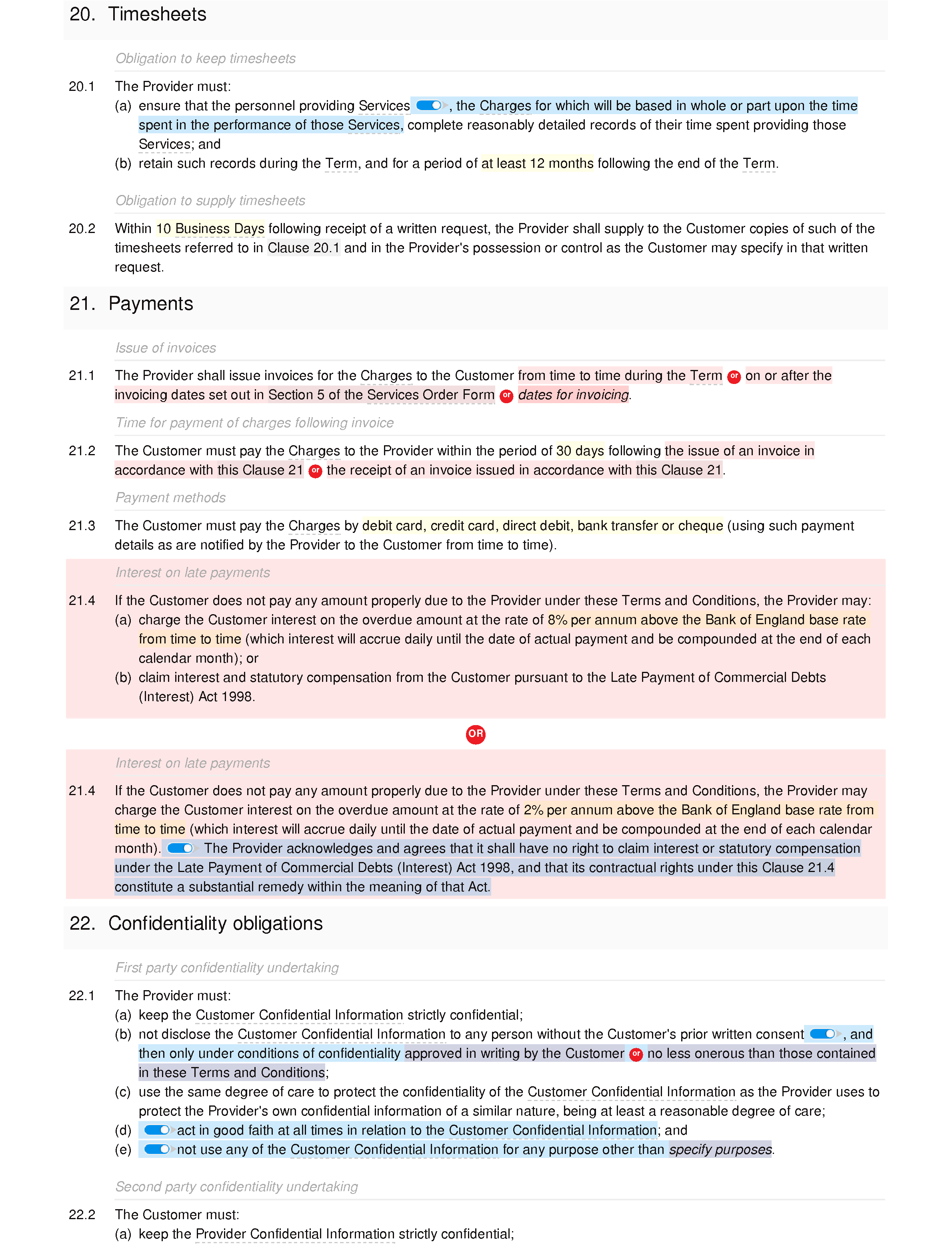 SaaS terms and conditions (premium) document editor preview