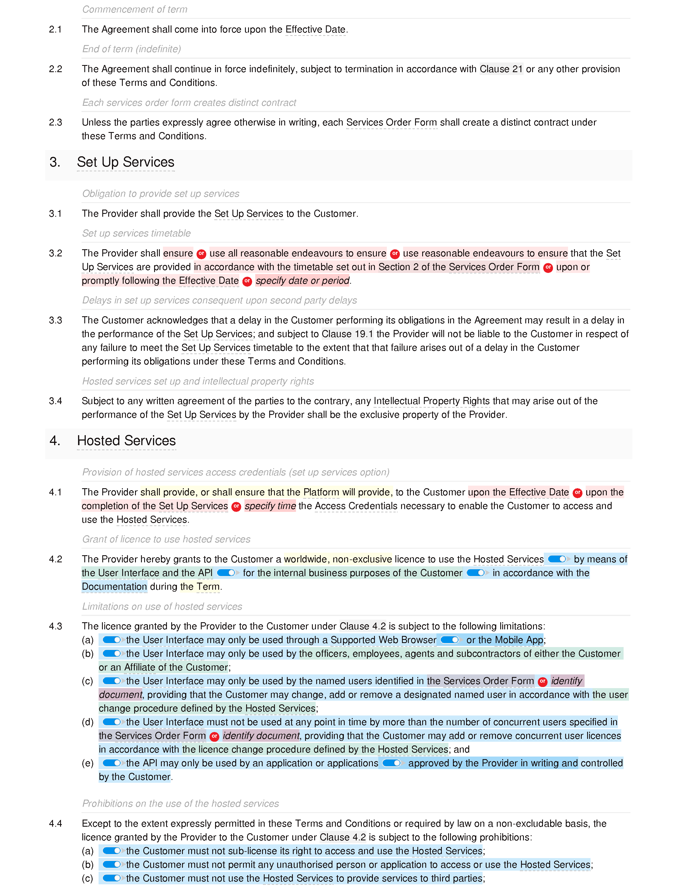 SaaS terms and conditions (standard) document editor preview