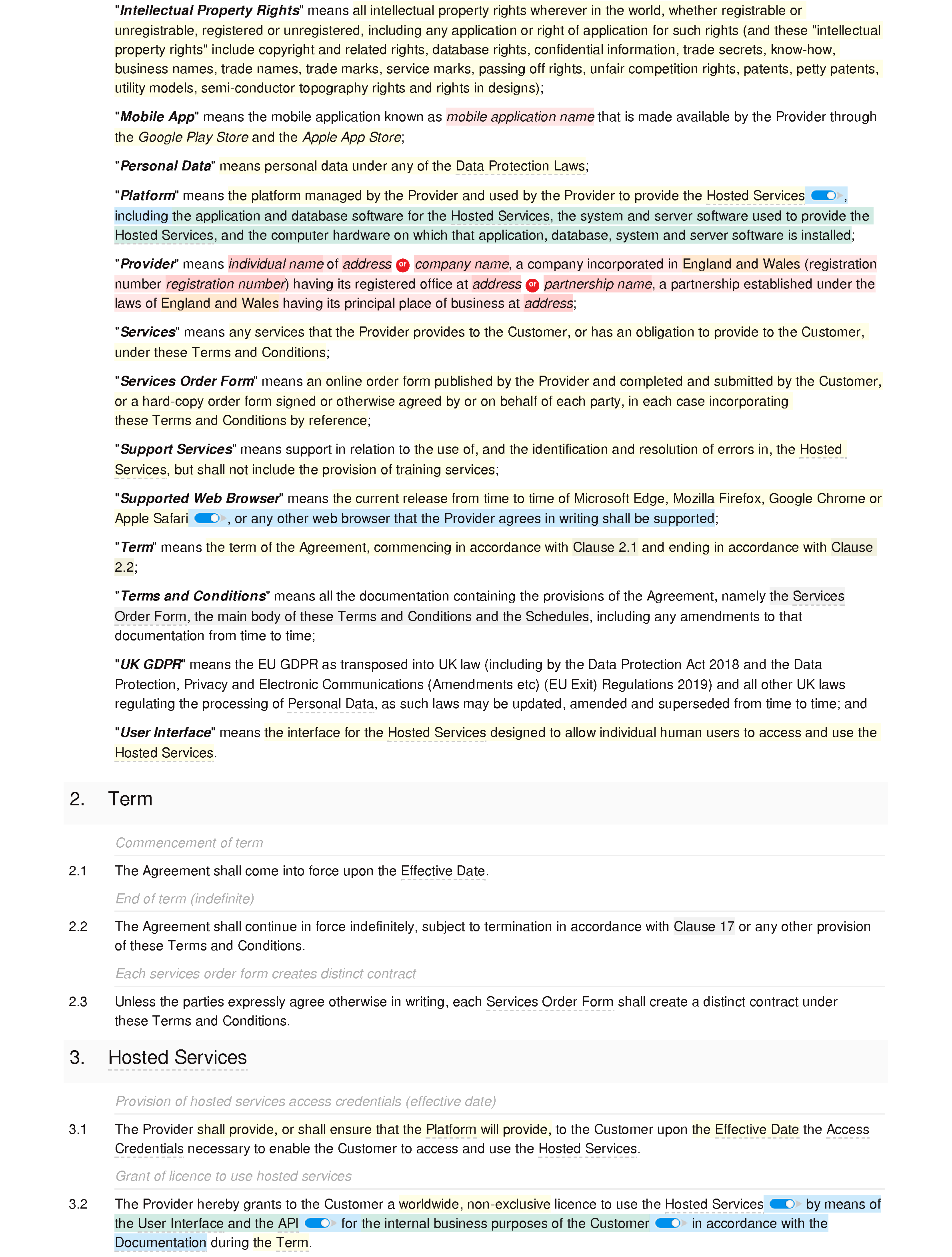 SaaS terms and conditions (basic) document editor preview