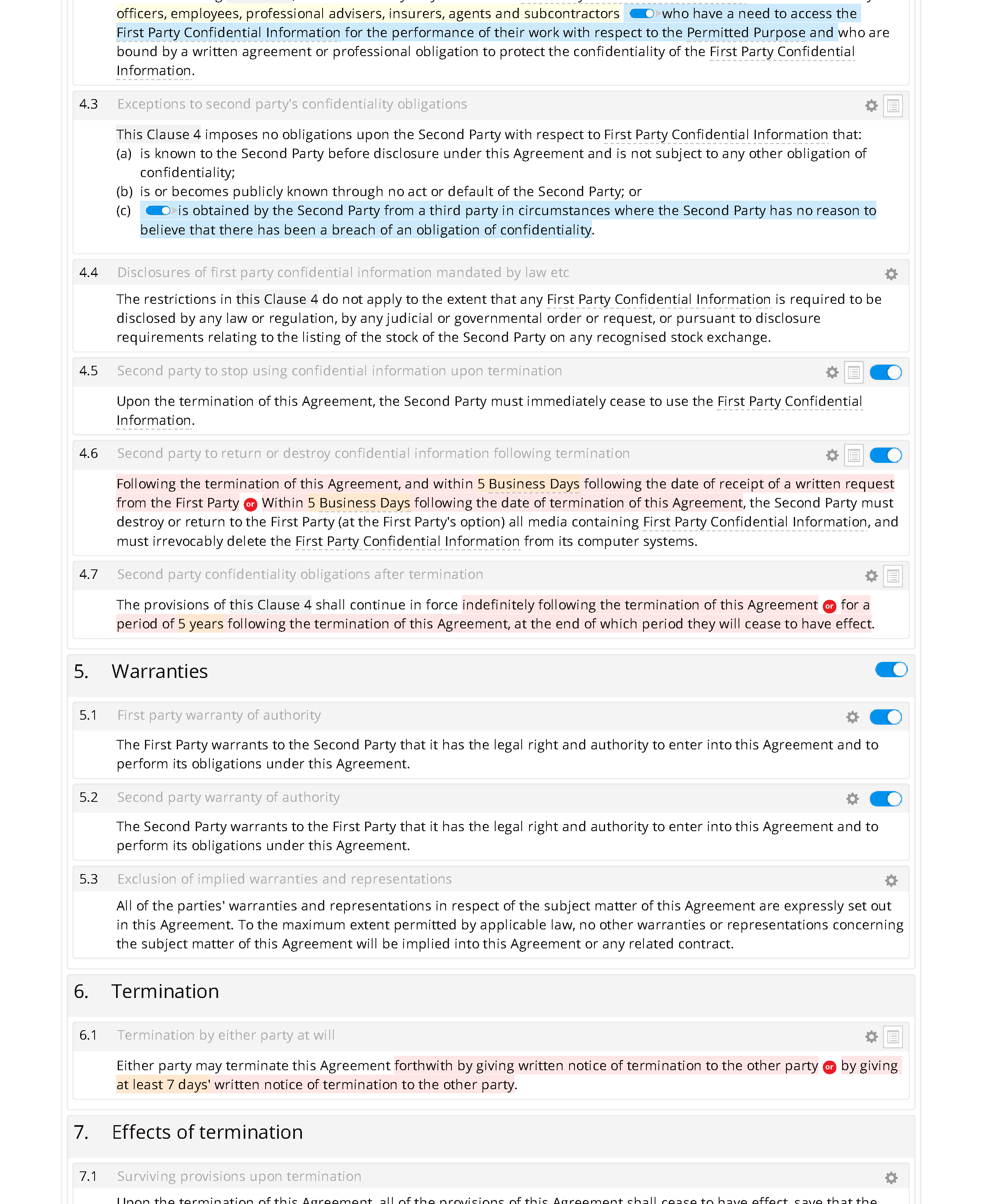 Non-disclosure agreement (mutual, standard) document editor preview