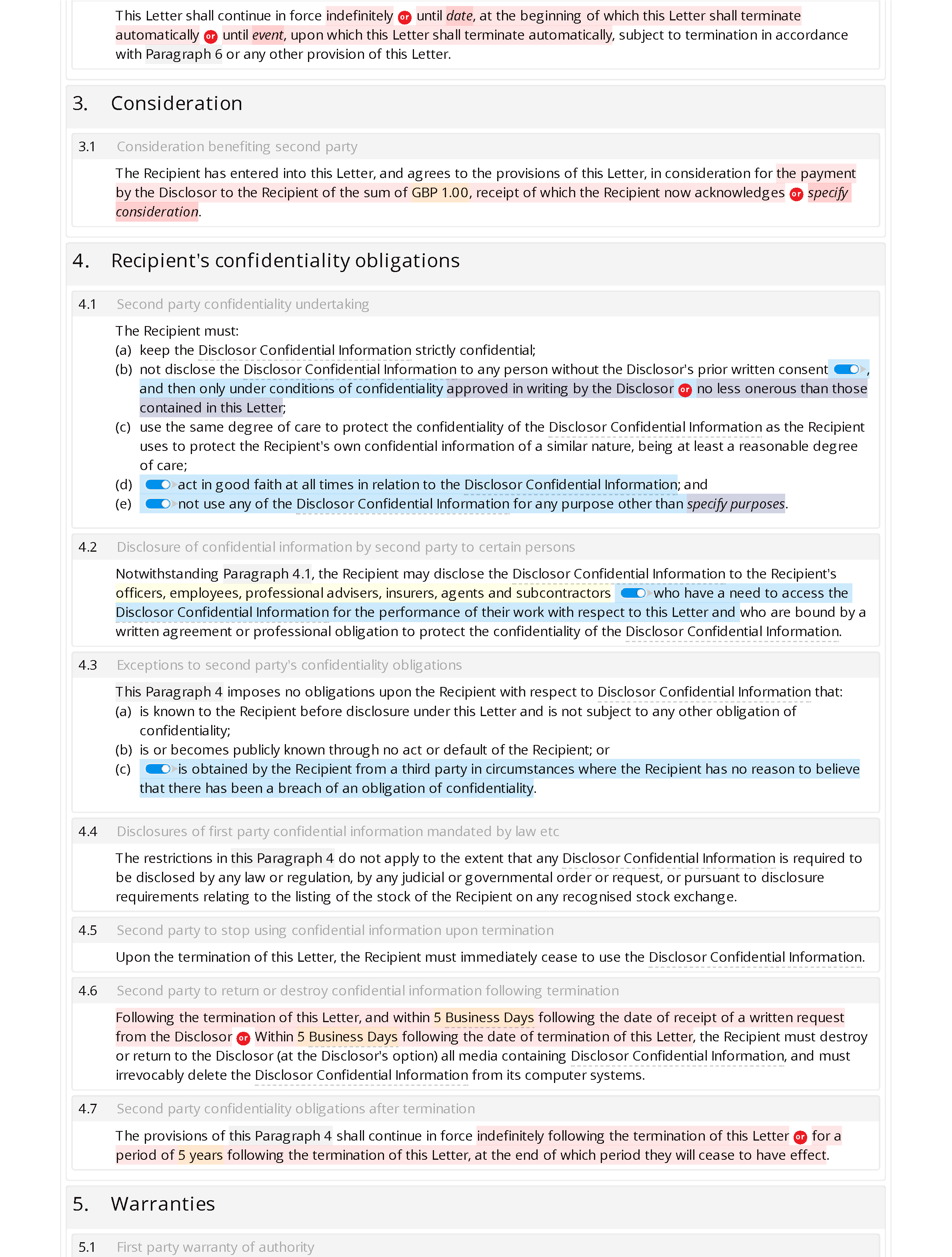 Non-disclosure letter (unilateral, standard) document editor preview