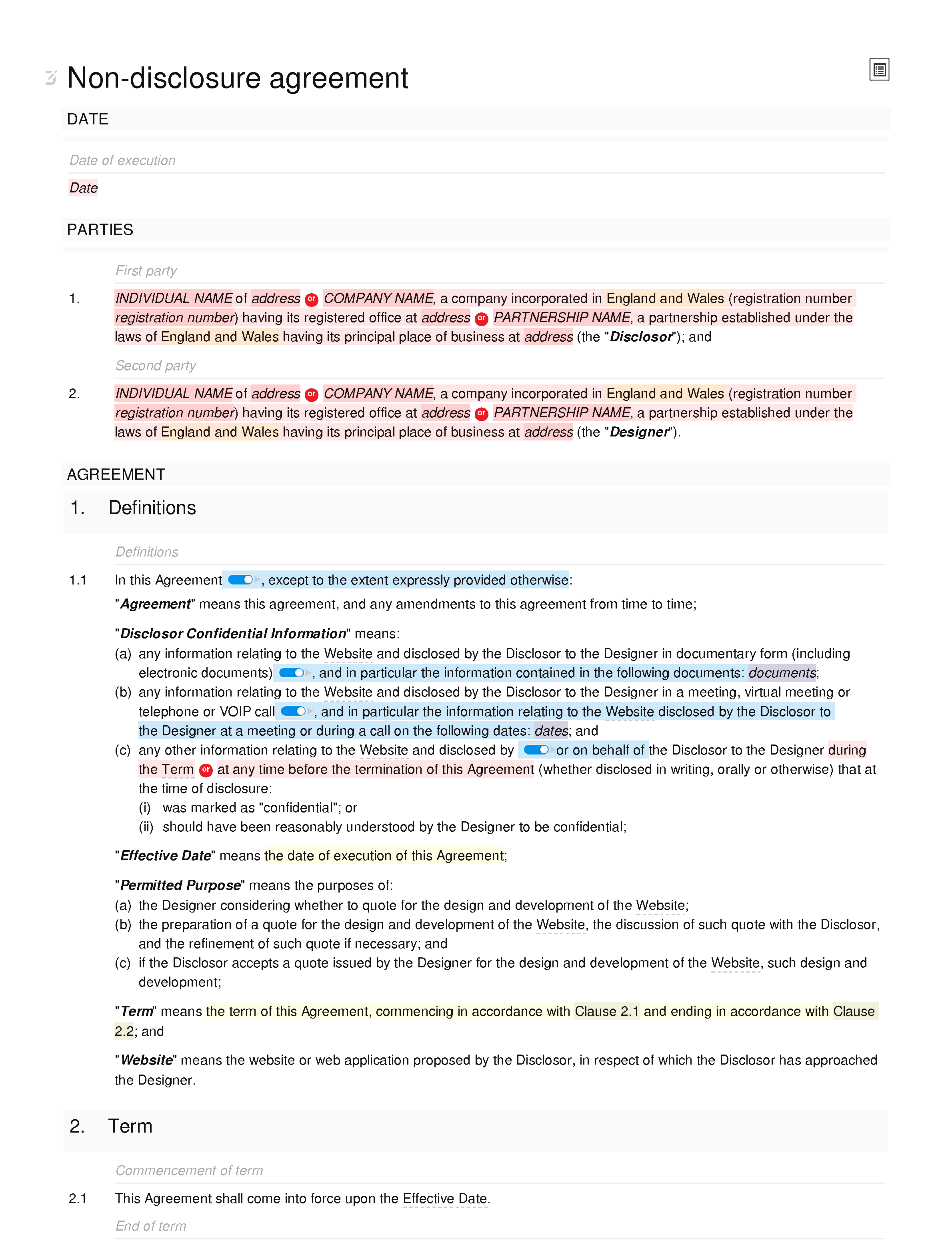 Non-disclosure agreement (web design) document editor preview
