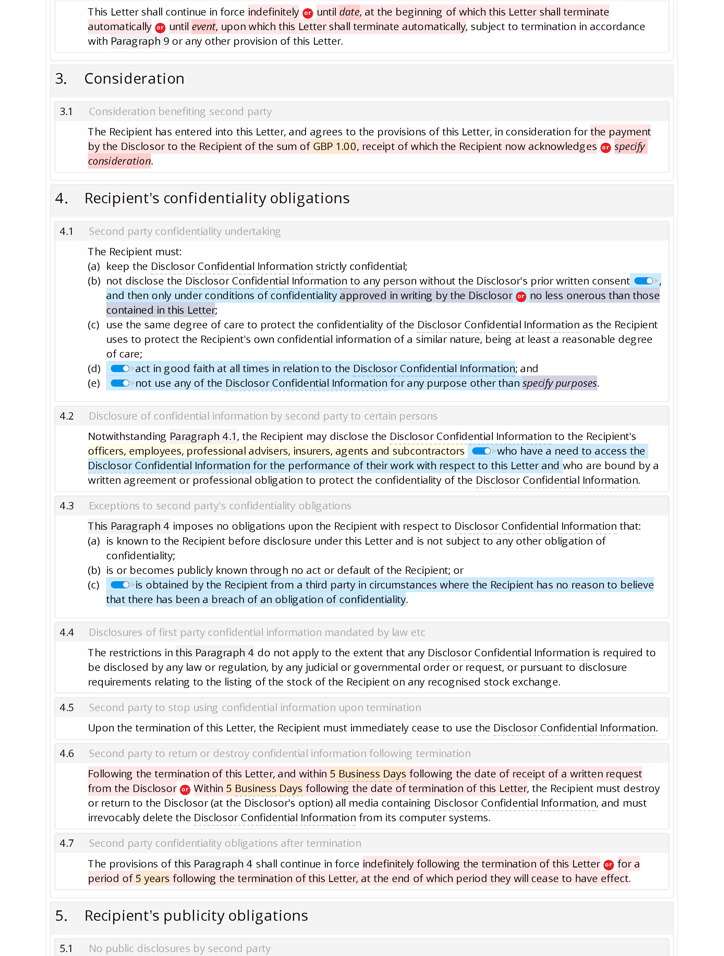 Non-disclosure letter (unilateral, premium) document editor preview