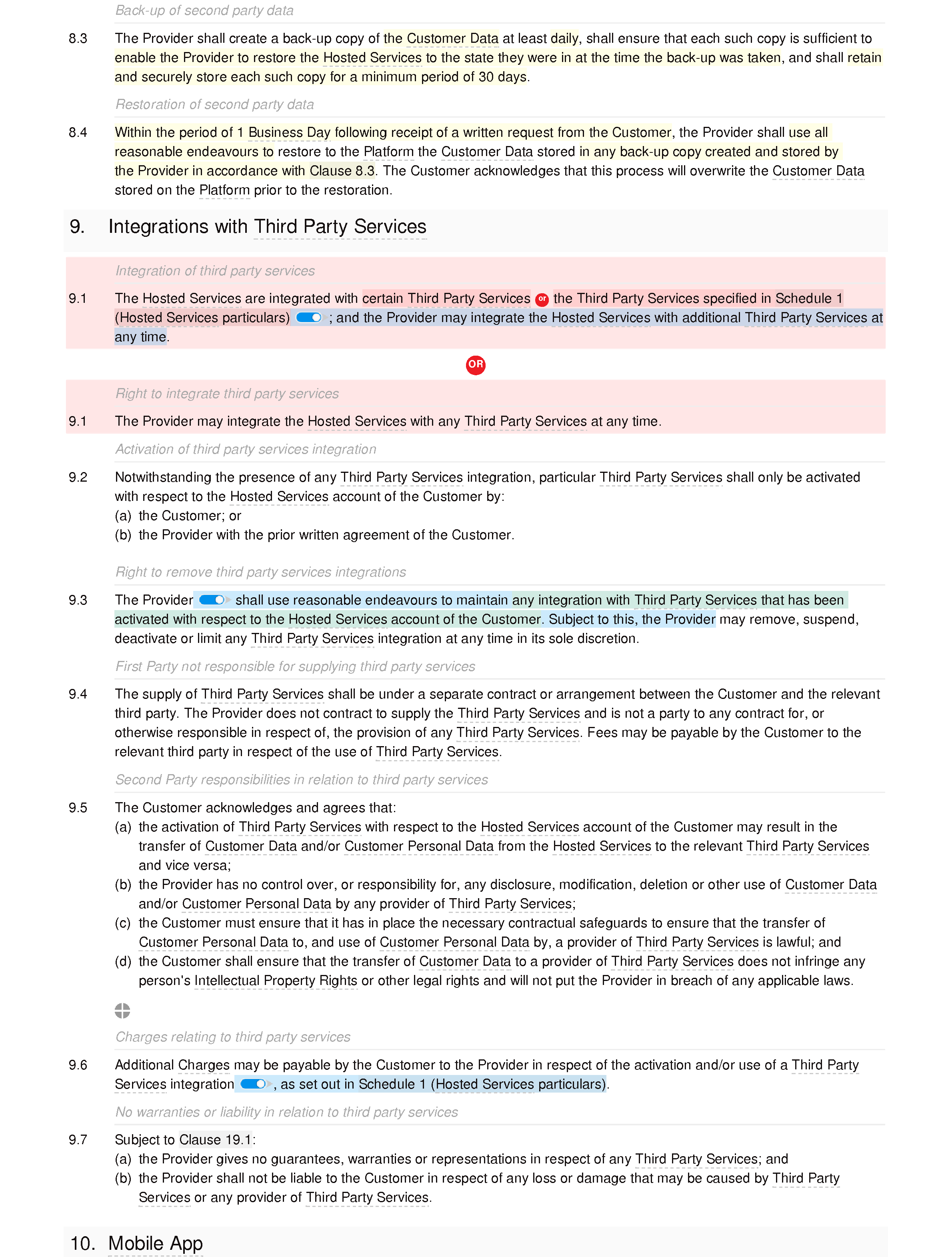 SaaS agreement (standard) document editor preview