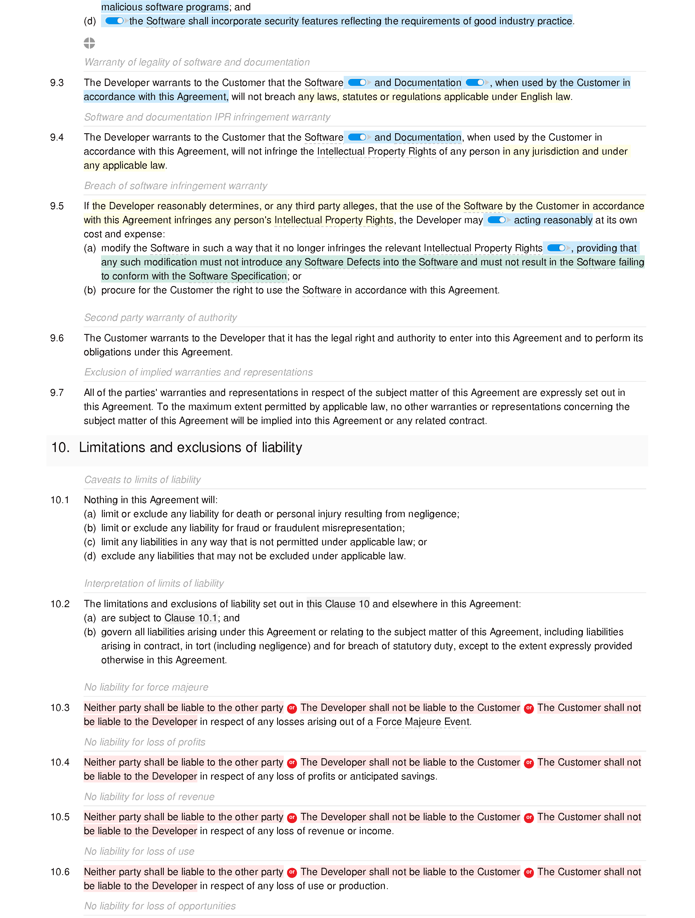 Software development agreement (basic) document editor preview