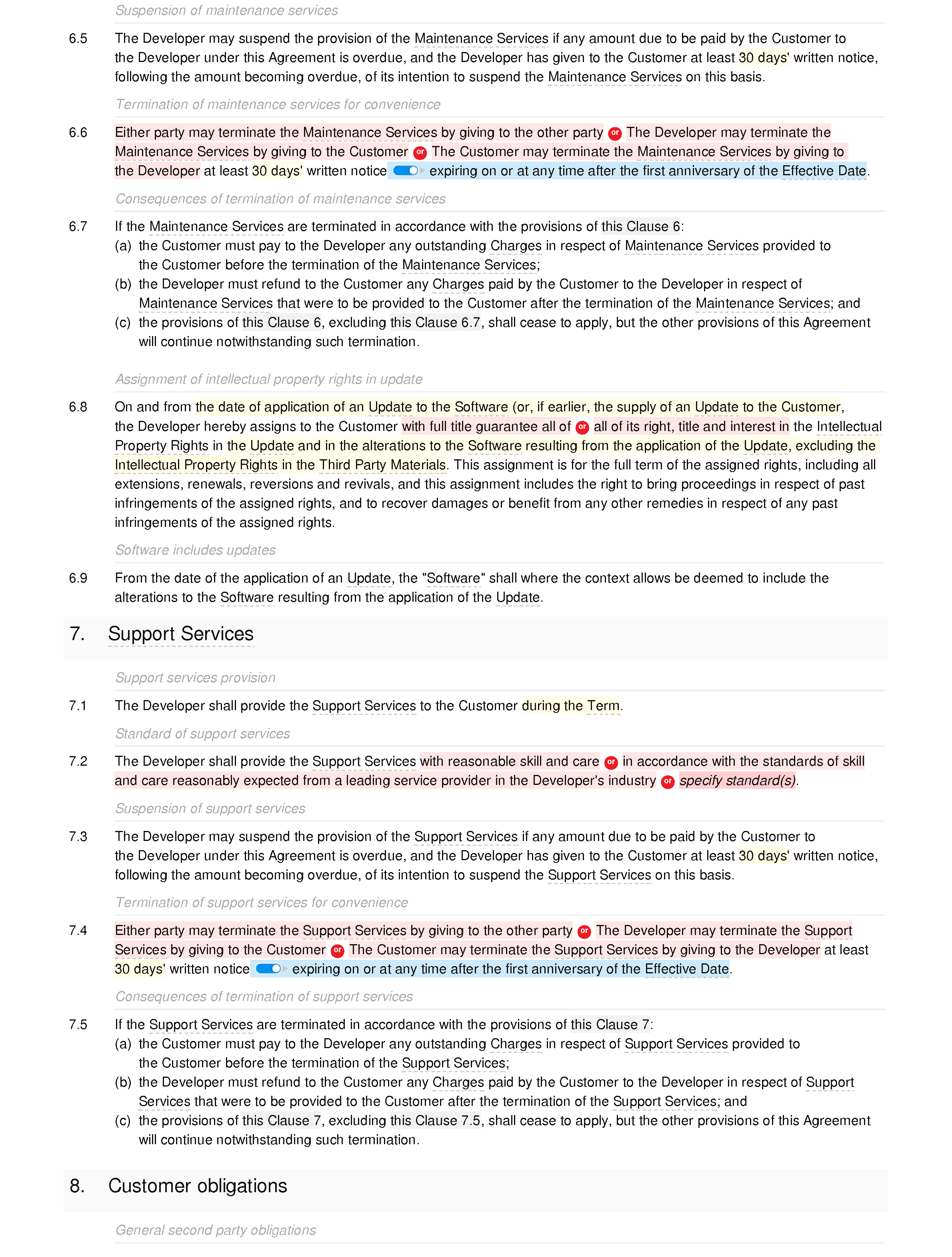 Software development, support and maintenance agreement (basic) document editor preview