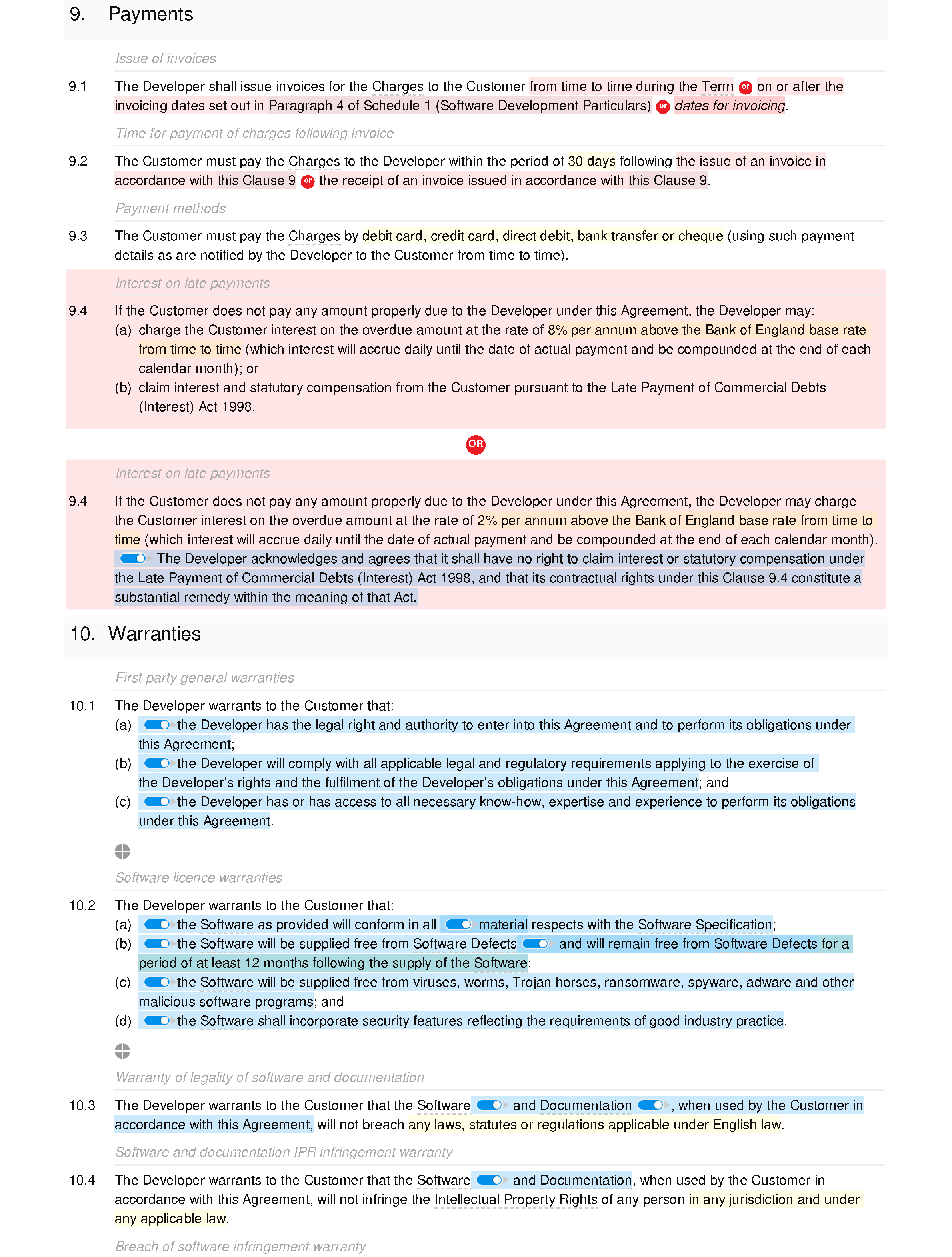Software development and maintenance agreement (basic) document editor preview