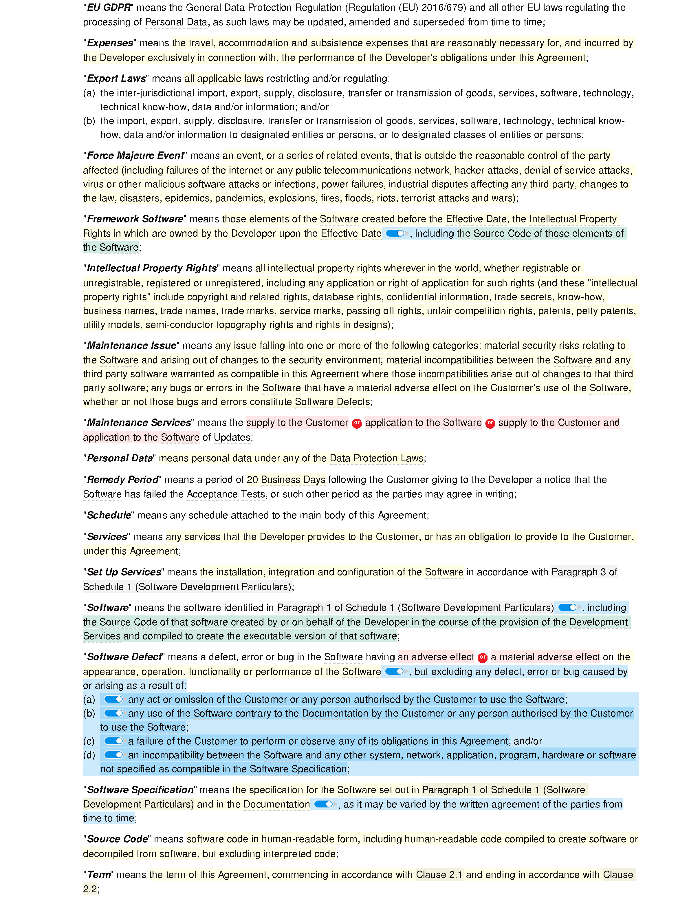 Software development and maintenance agreement (premium) document editor preview