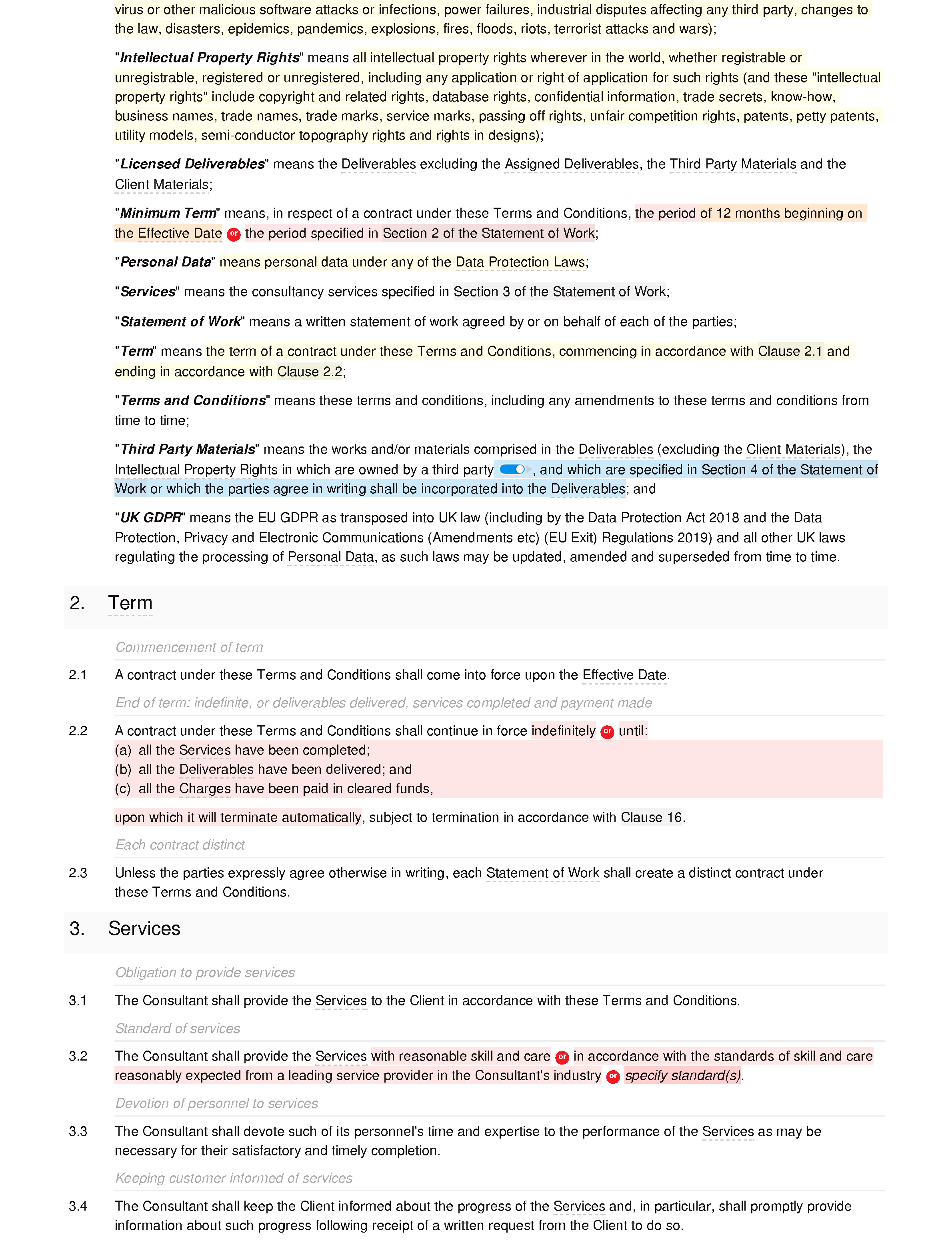 Consultancy terms and conditions (B2B and B2C) document editor preview
