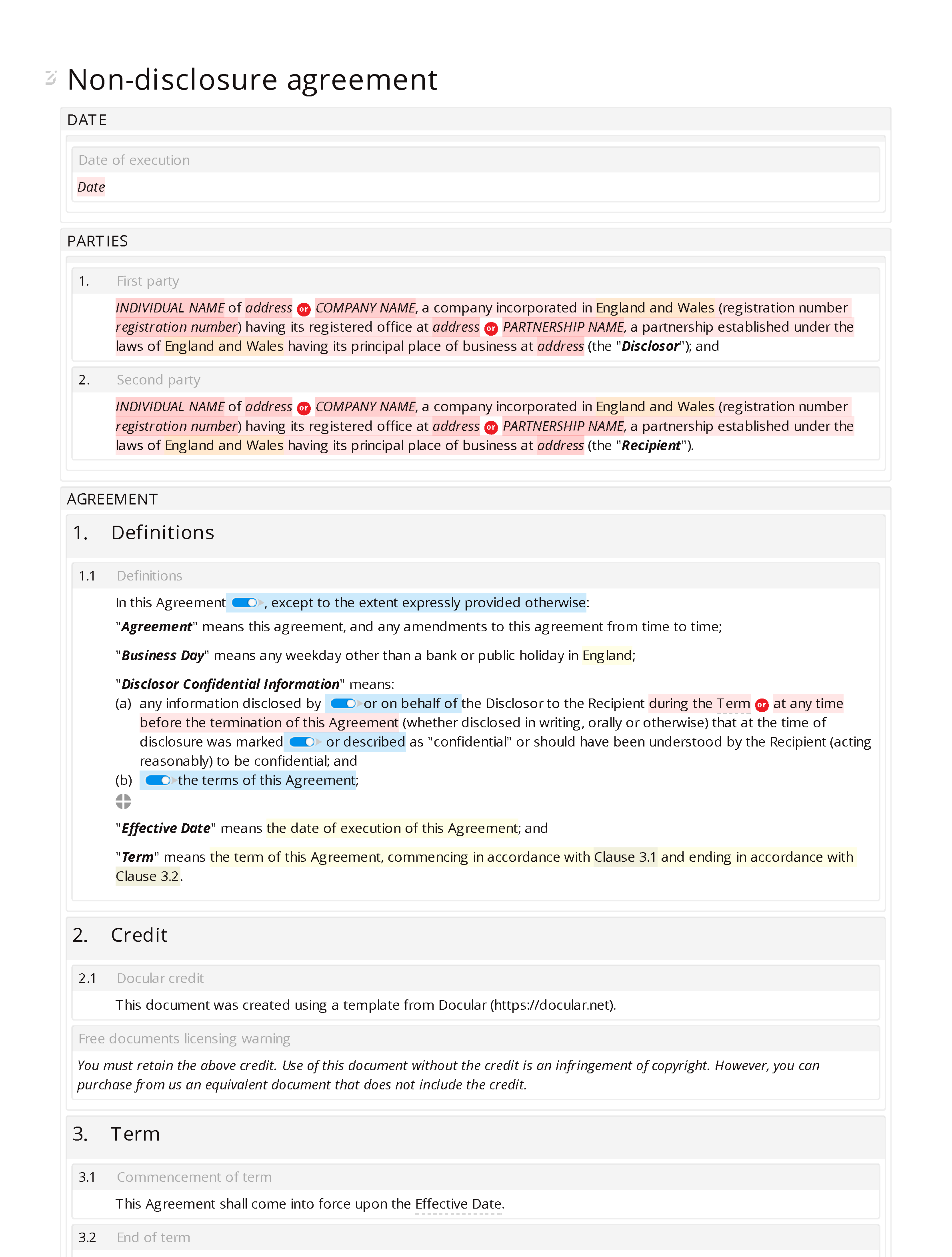 Free non-disclosure agreement document editor preview